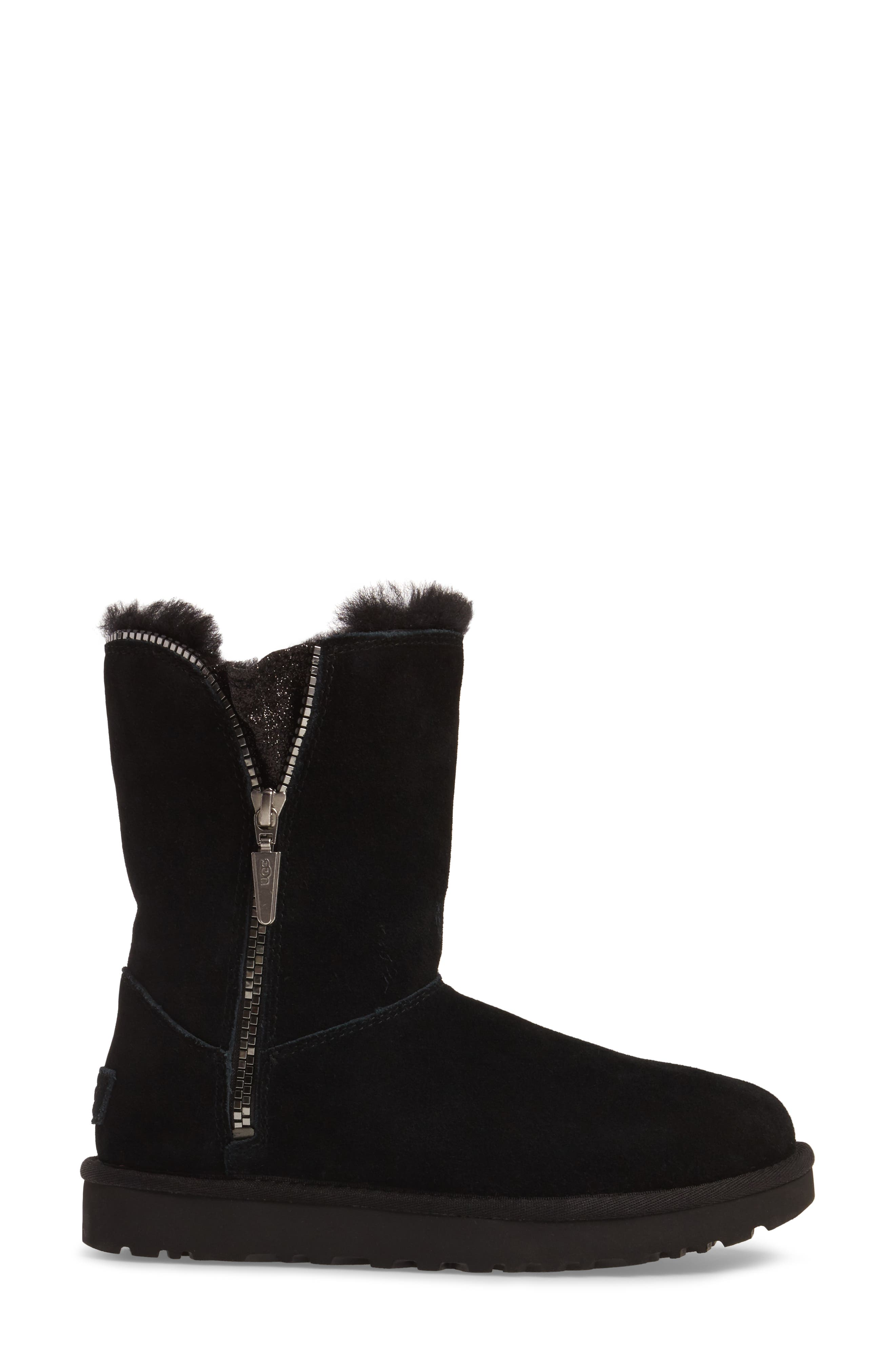 Marice Glitter Inset Boot,                             Alternate thumbnail 3, color,                             Black Suede