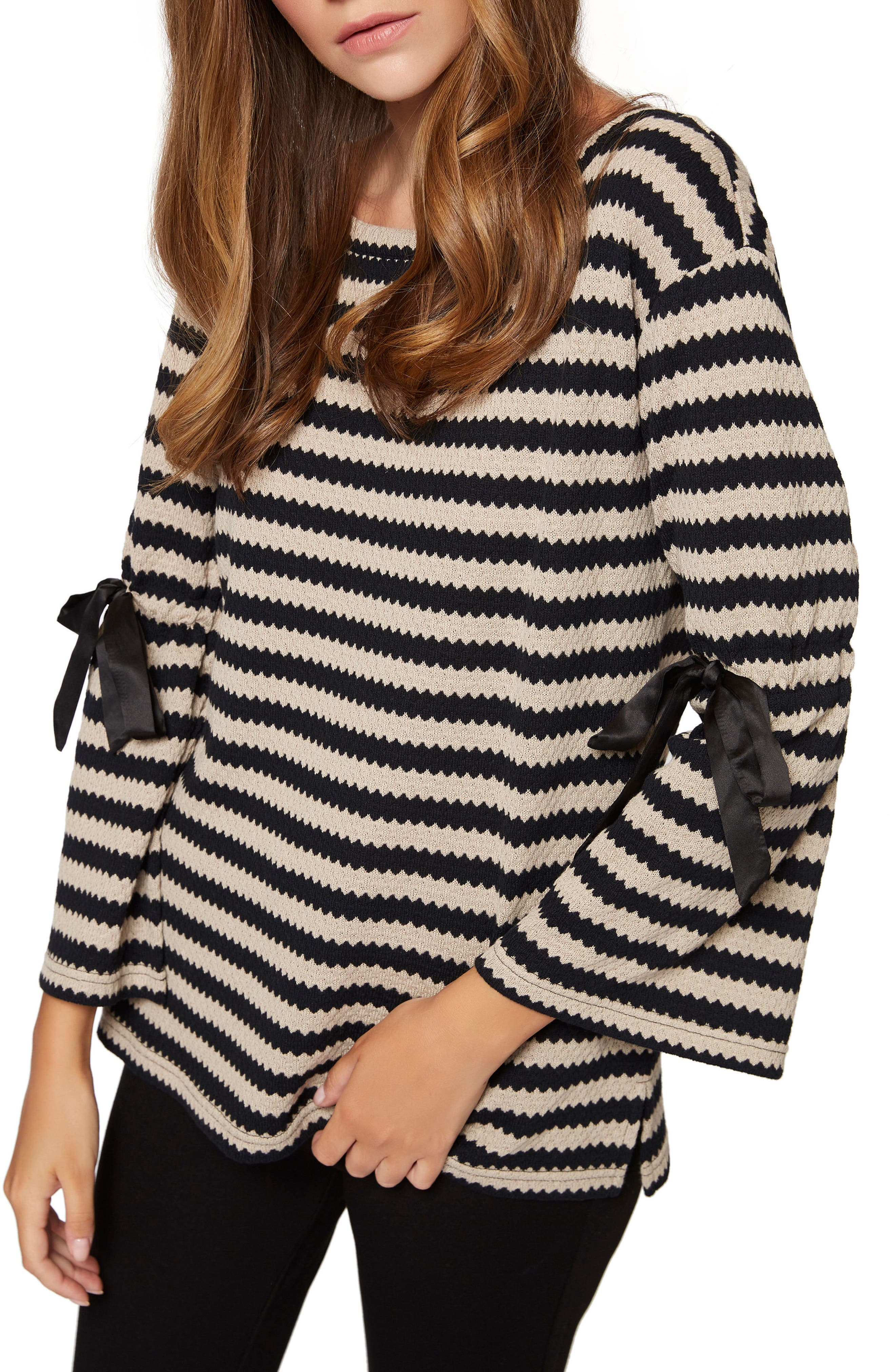 Alternate Image 1 Selected - Sanctuary Tierney Stripe Tie Sleeve Sweatshirt (Regular & Petite)
