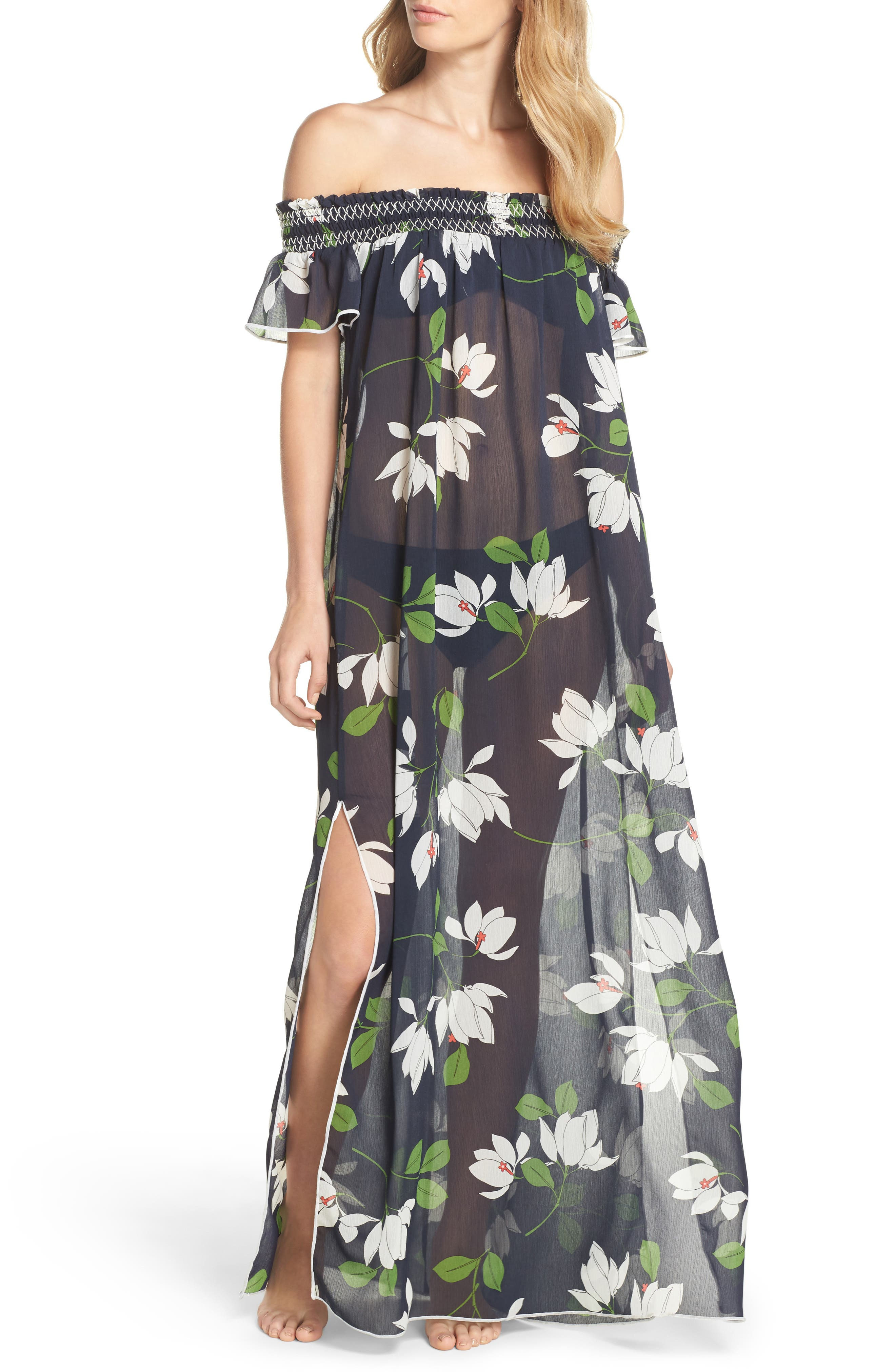 Sheer Off the Shoulder Cover-Up Dress,                         Main,                         color, Midnight/ Multi