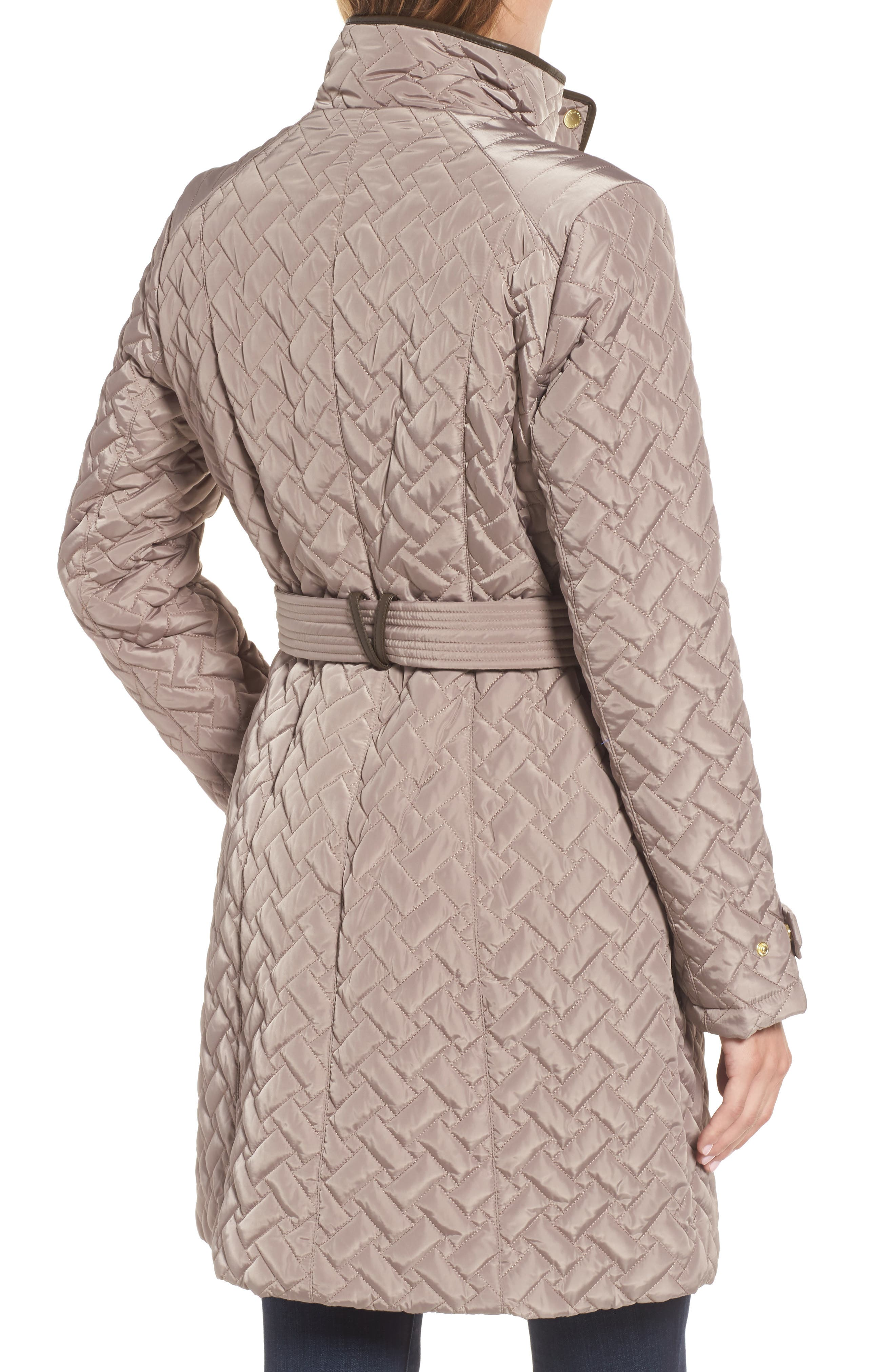 Belted Quilted Coat,                             Alternate thumbnail 2, color,                             Cashew