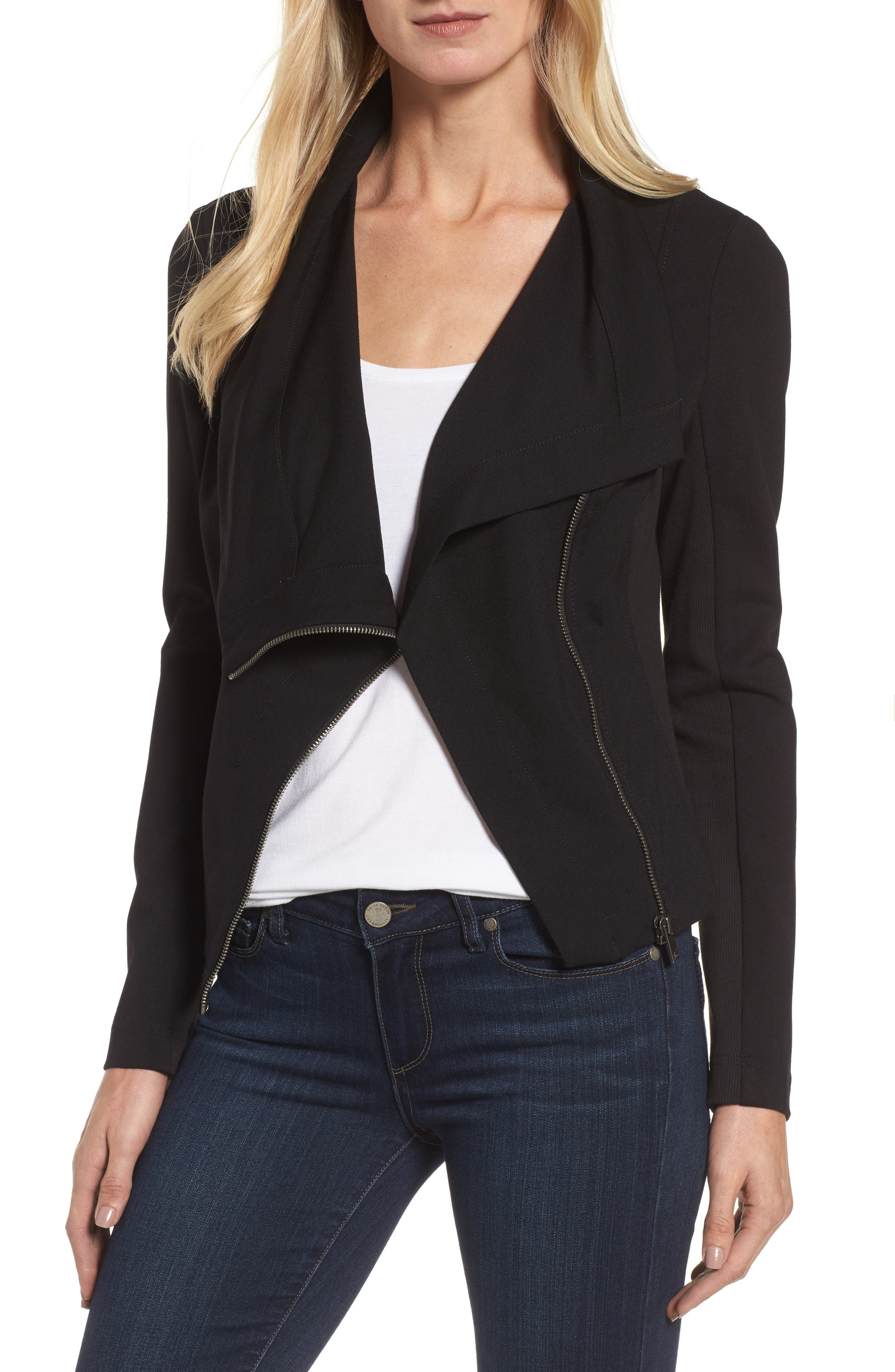 Two by Vince Camuto Ponte Moto Jacket,                         Main,                         color, Rich Black