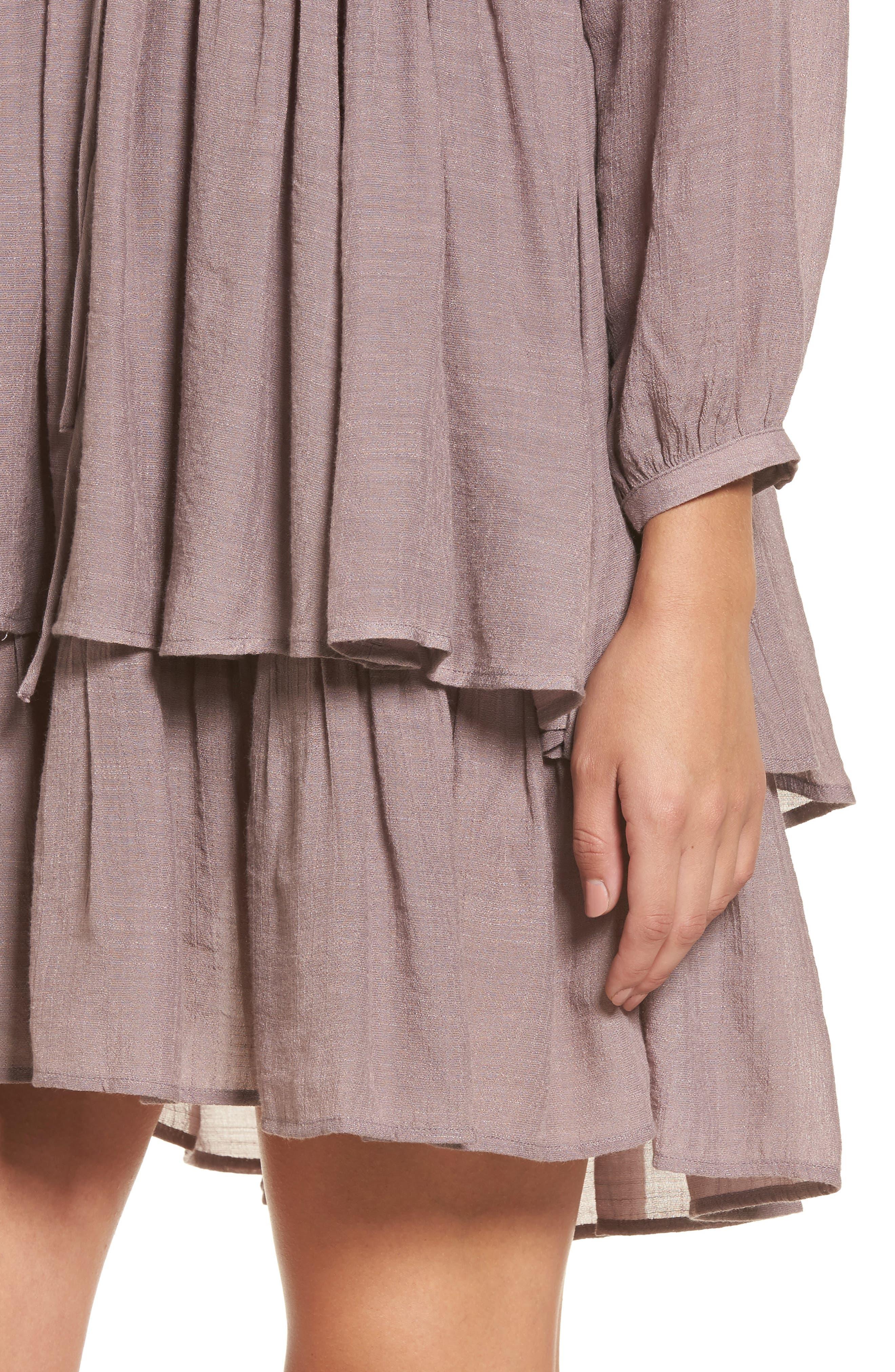 Lace-Up Peasant Dress,                             Alternate thumbnail 4, color,                             Purple Peace