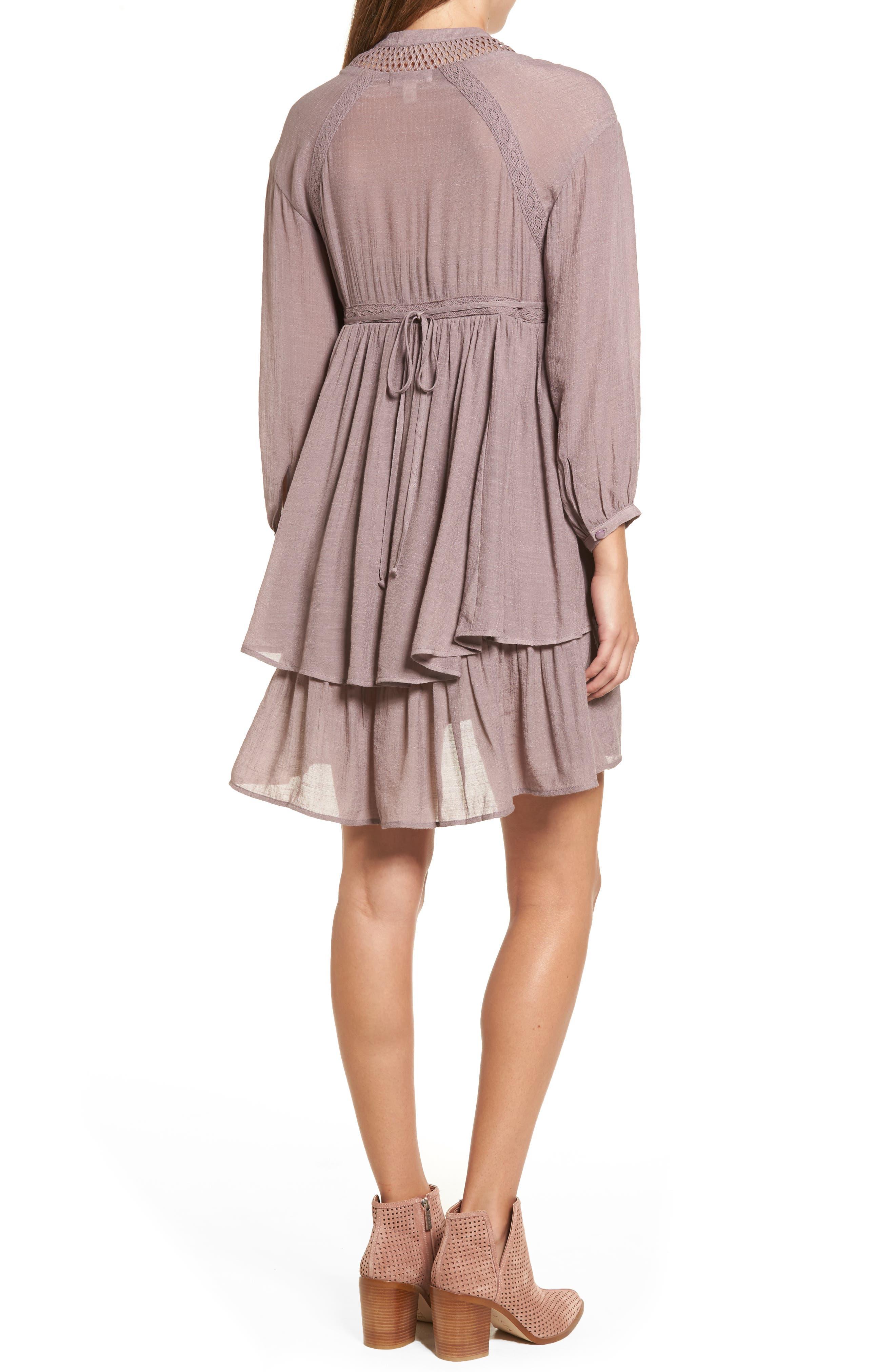 Lace-Up Peasant Dress,                             Alternate thumbnail 2, color,                             Purple Peace