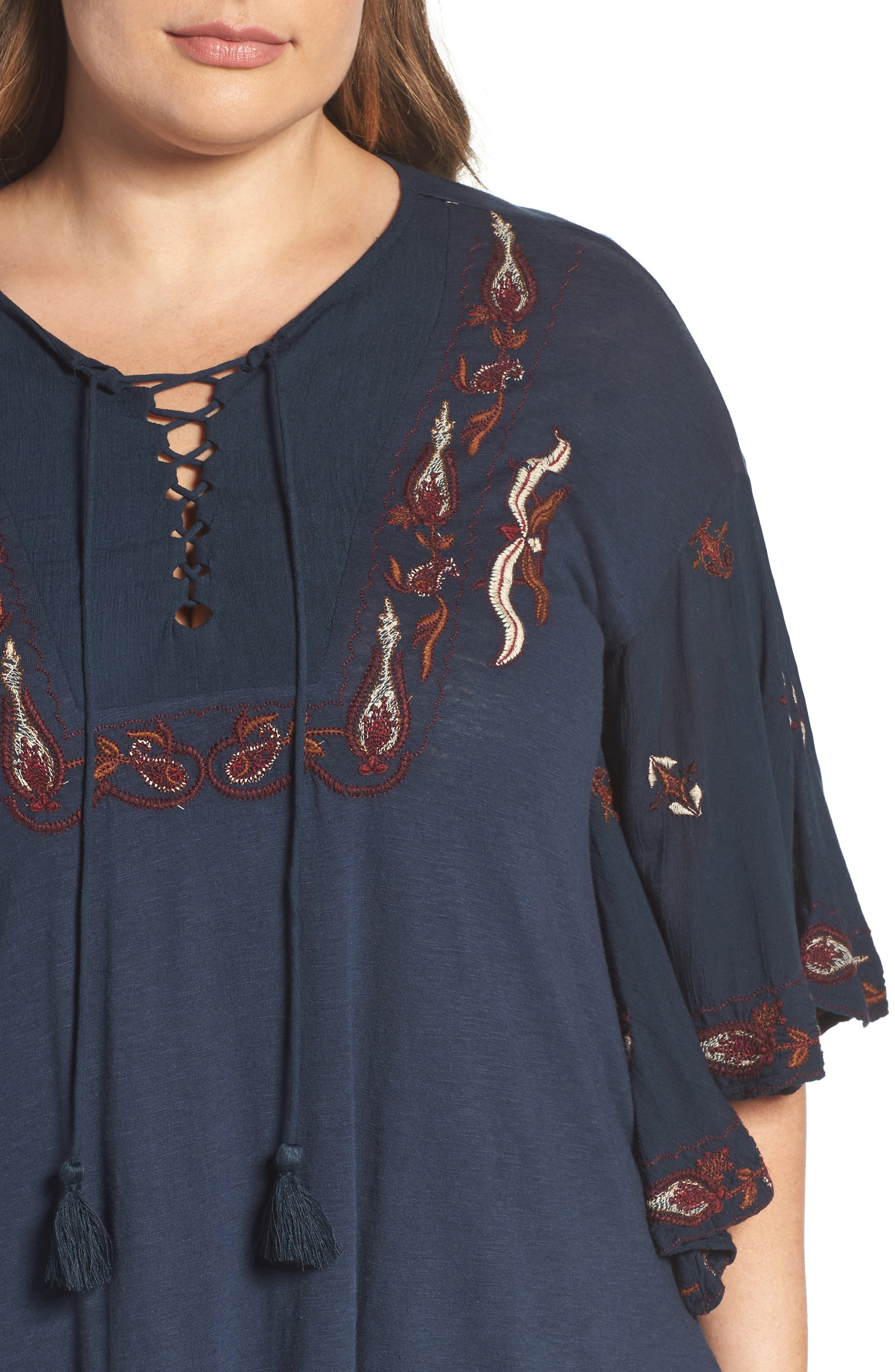 Lace Up Embroidered Peasant Top,                             Alternate thumbnail 4, color,                             Blueberry