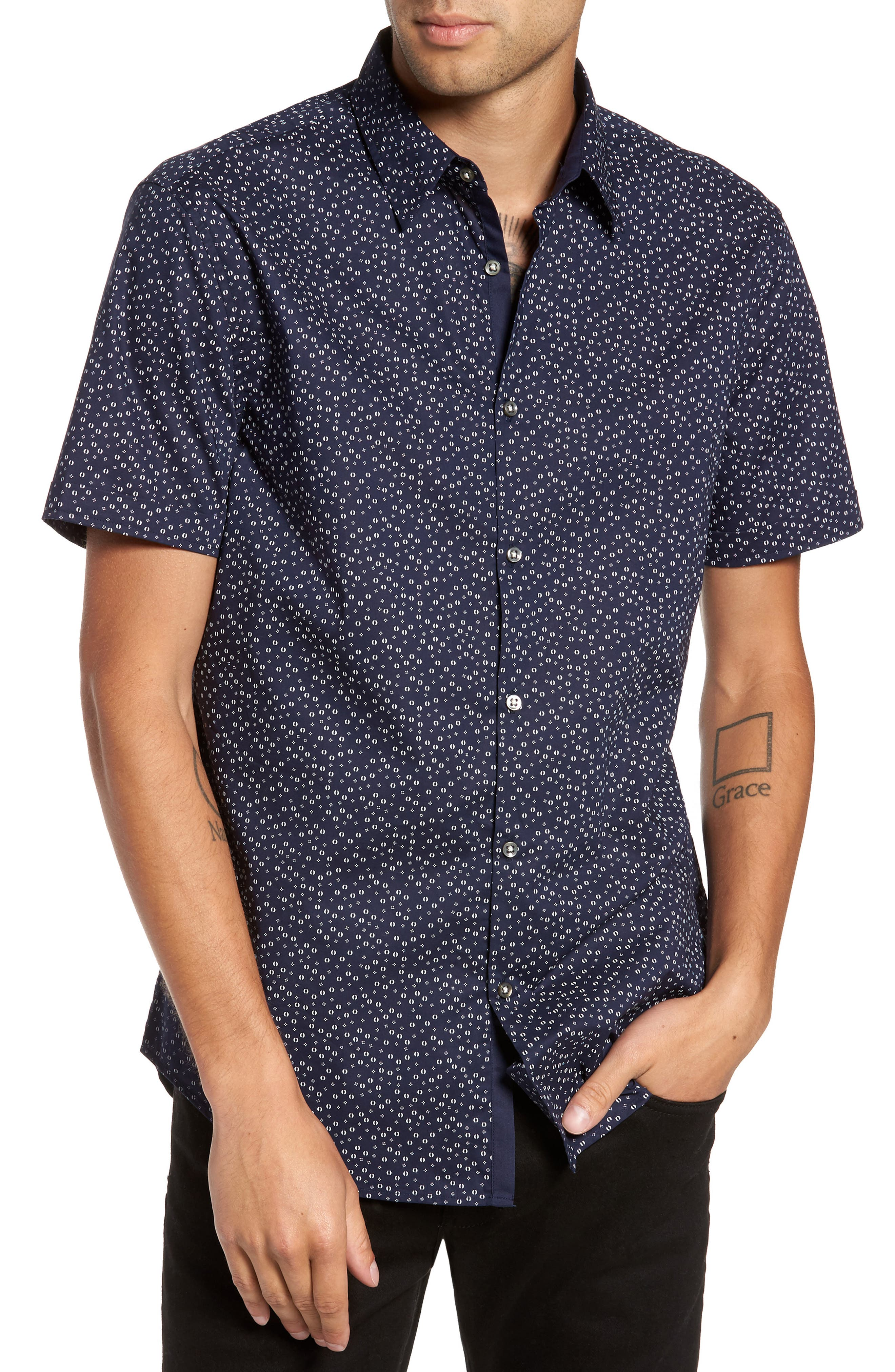 John Varvatos Star USA Slim Fit Print Short Sleeve Sport Shirt