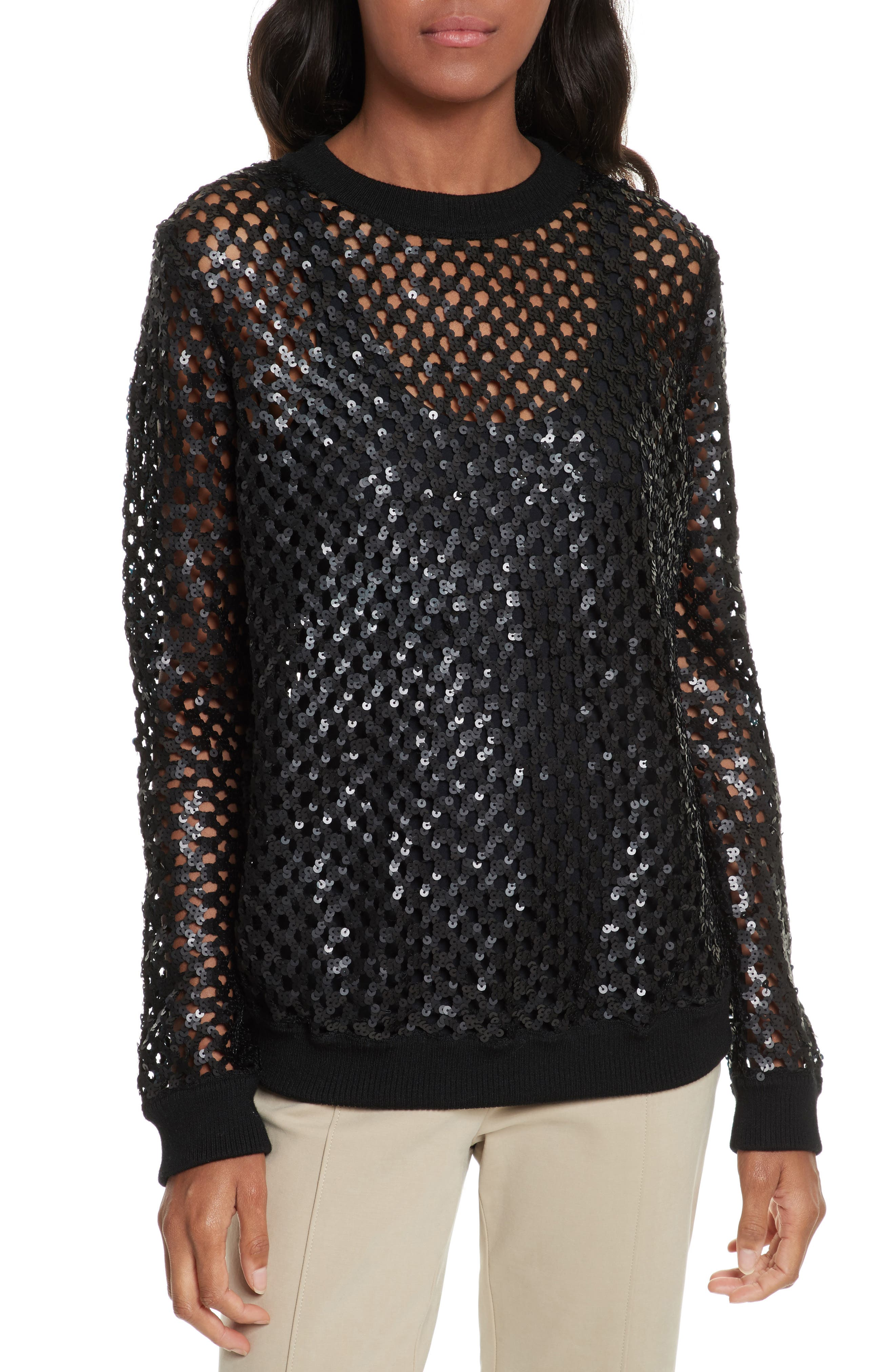 Lansing Sequin Mesh Sweater,                         Main,                         color, Black