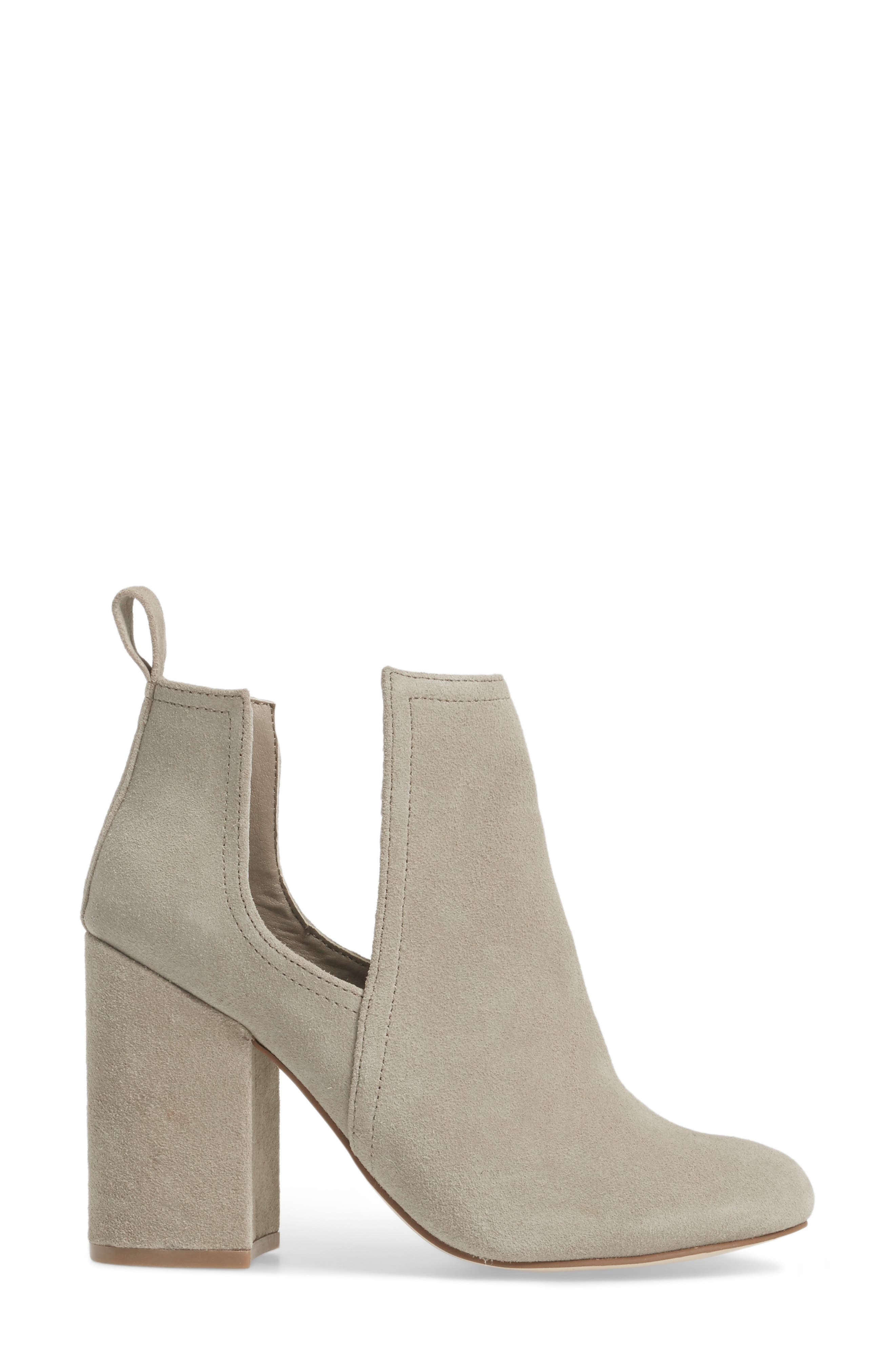 Naomi Cutout Bootie,                             Alternate thumbnail 3, color,                             Taupe Suede