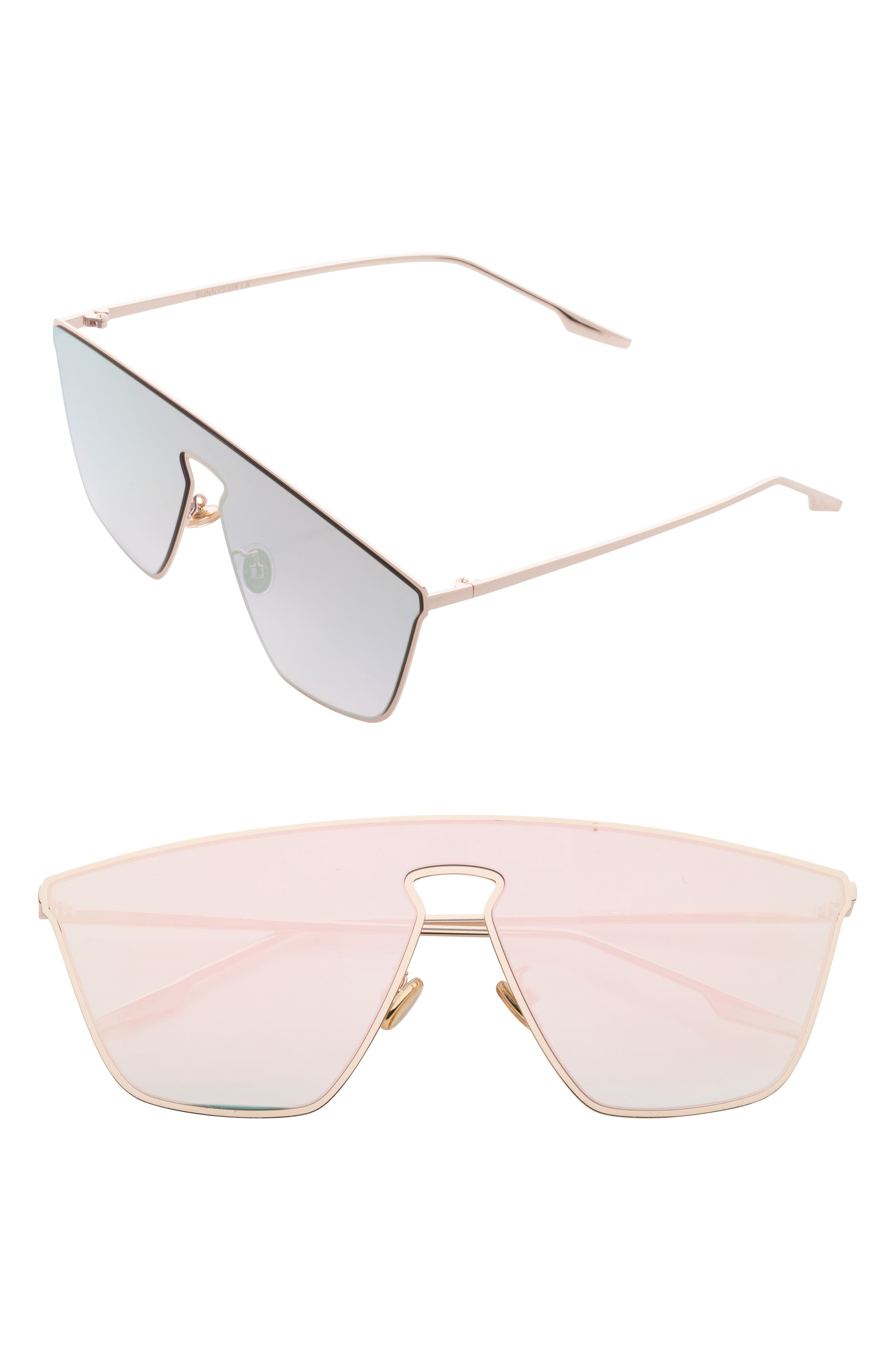 65mm Mirrored Shield Sunglasses,                         Main,                         color, Pink