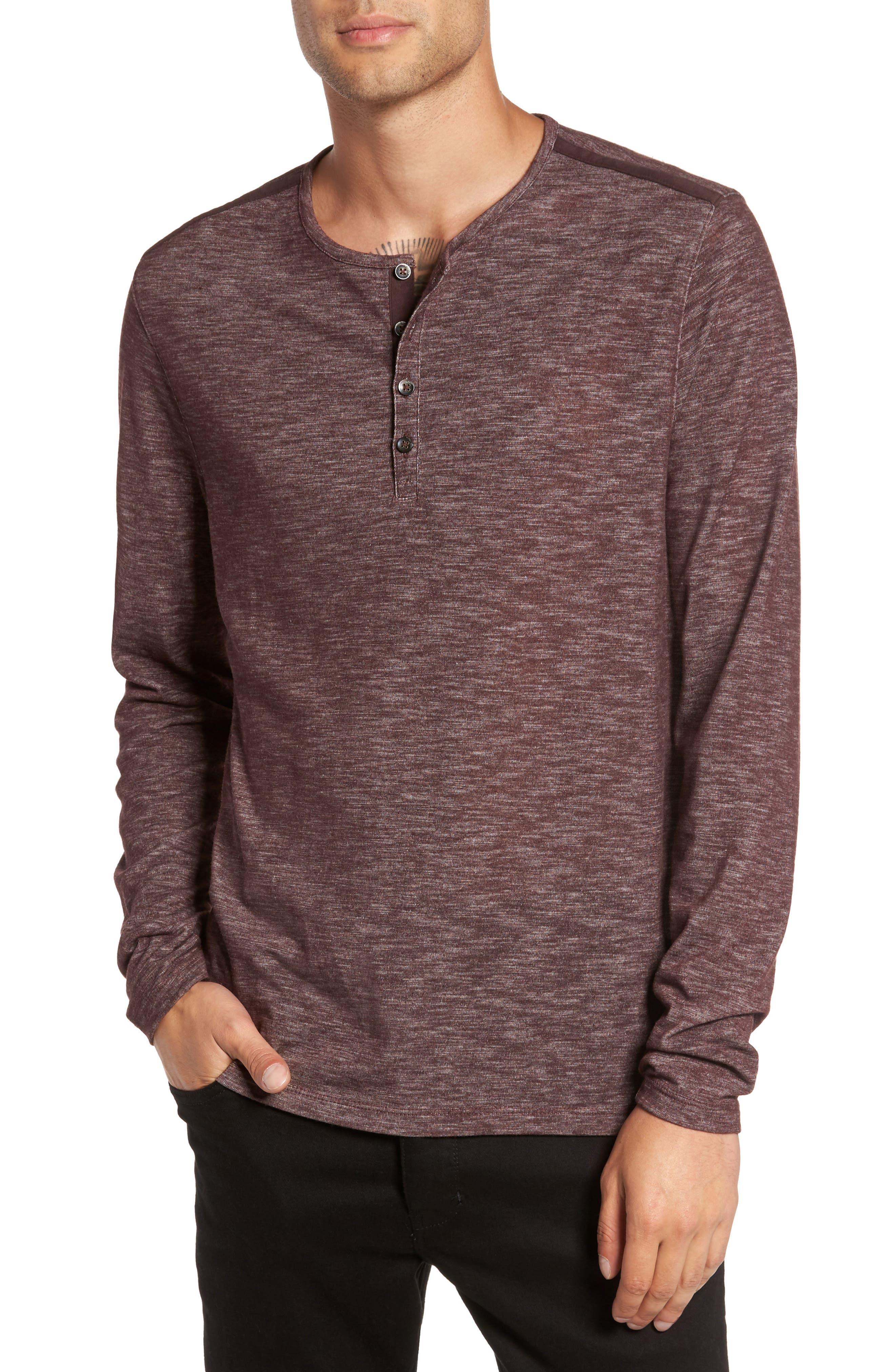 John Varvatos Star USA Long Sleeve Slub Knit Henley