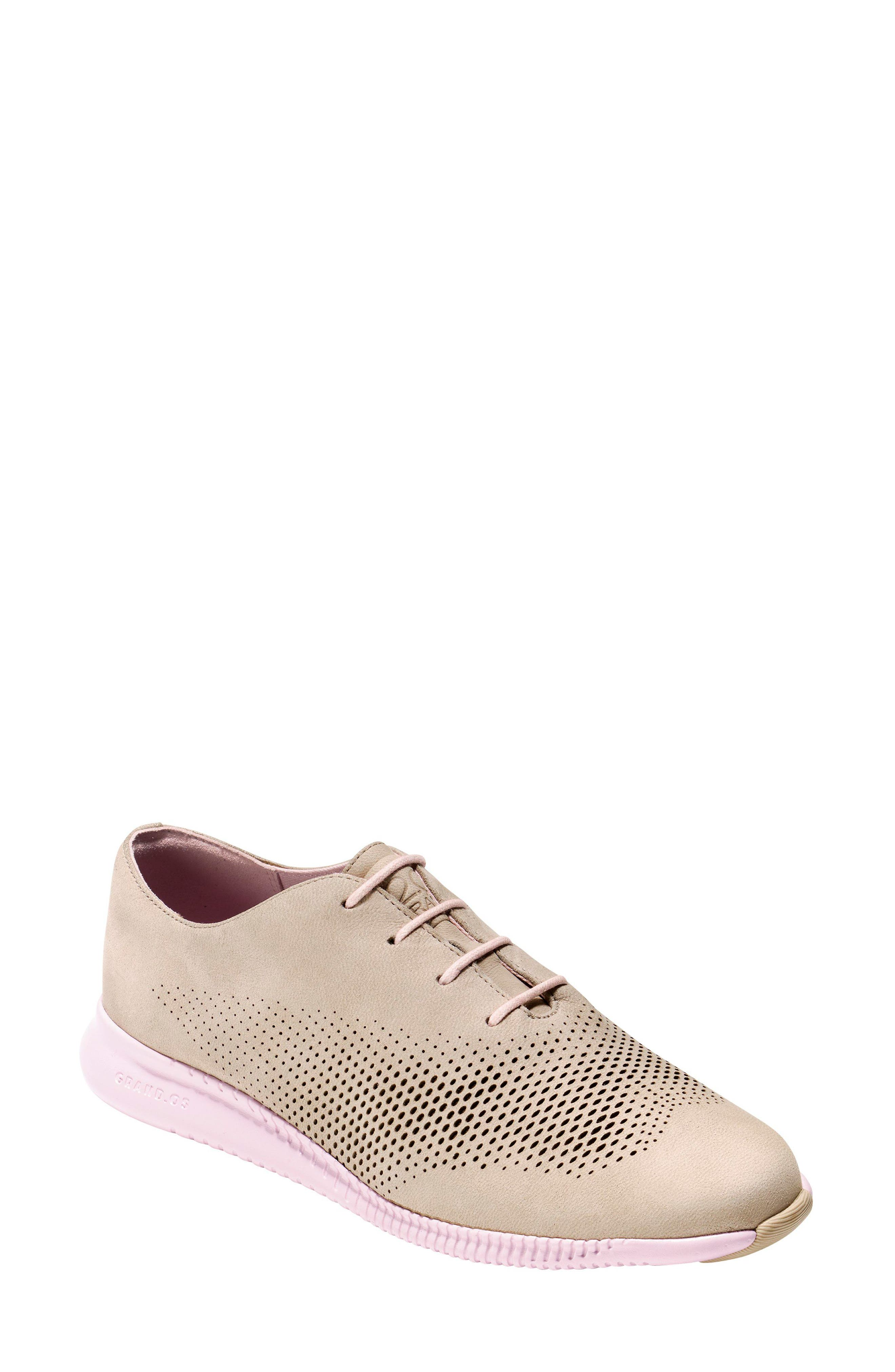 'ZeroGrand' Perforated Wingtip,                             Main thumbnail 1, color,                             Barley/ Pale Lilac Nubuck