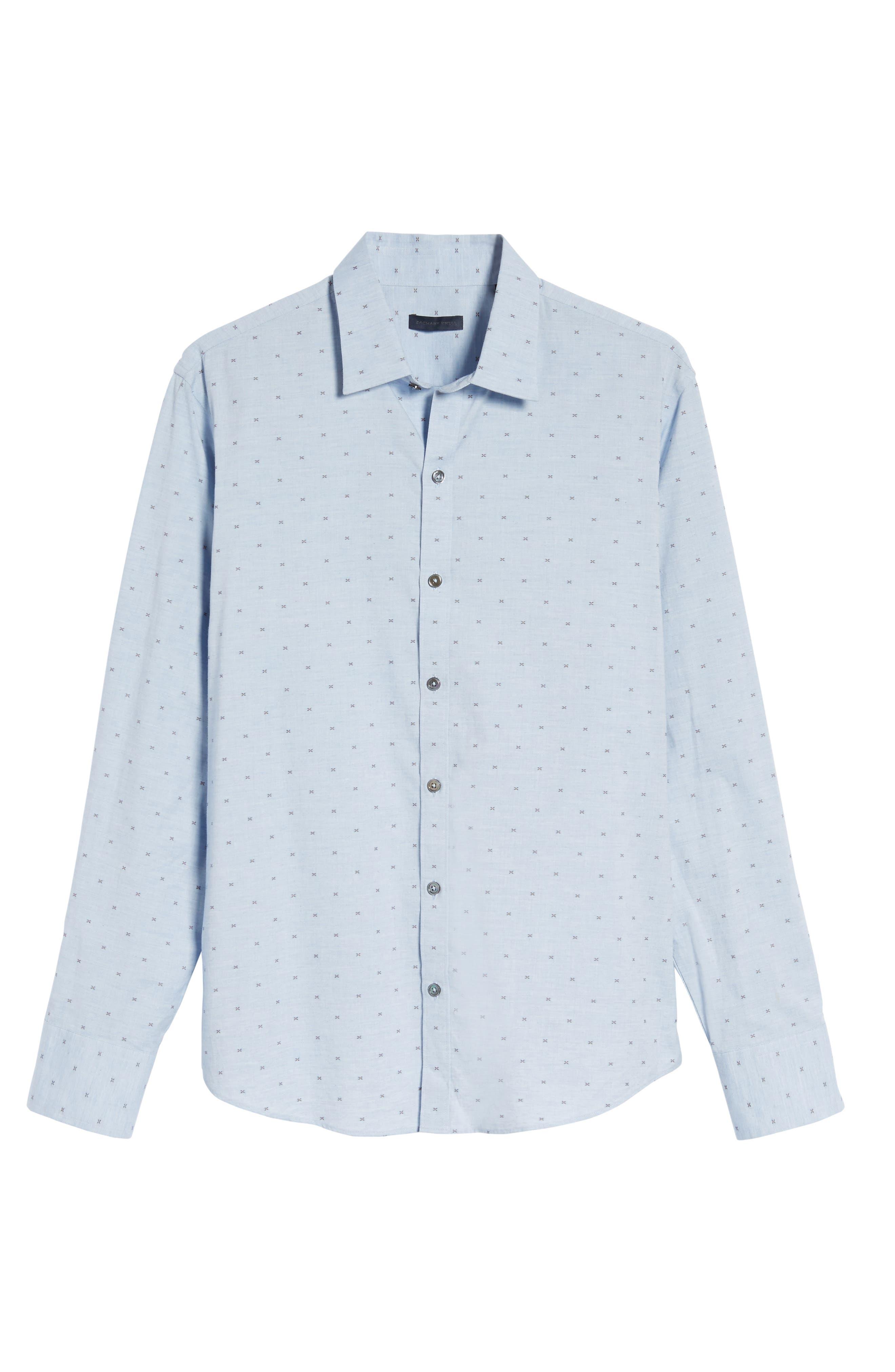 Caffoe Slim Fit Dobby Sport Shirt,                             Alternate thumbnail 6, color,                             Blue