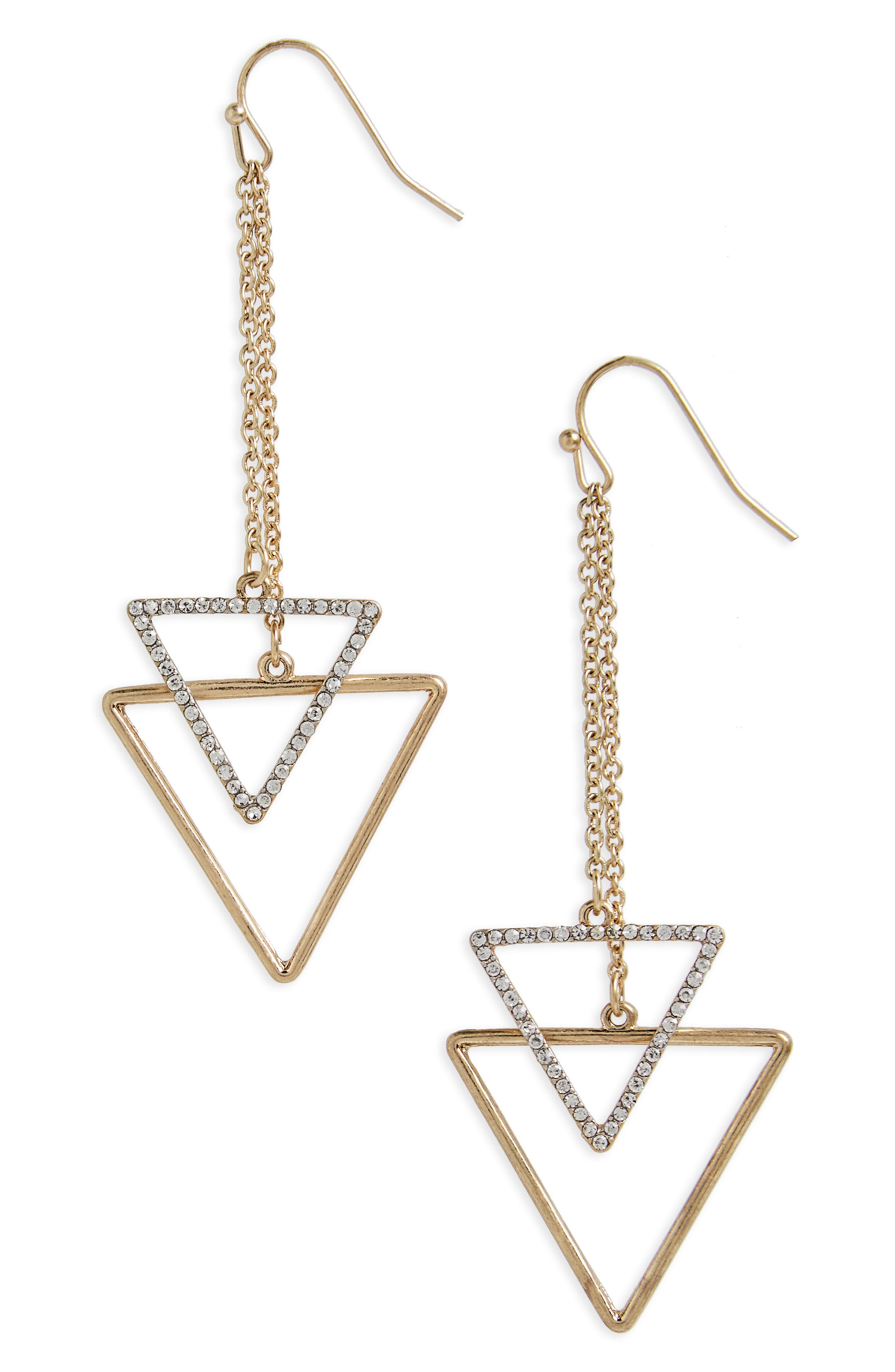 Chain Drop Triangle Earrings,                         Main,                         color, Gold