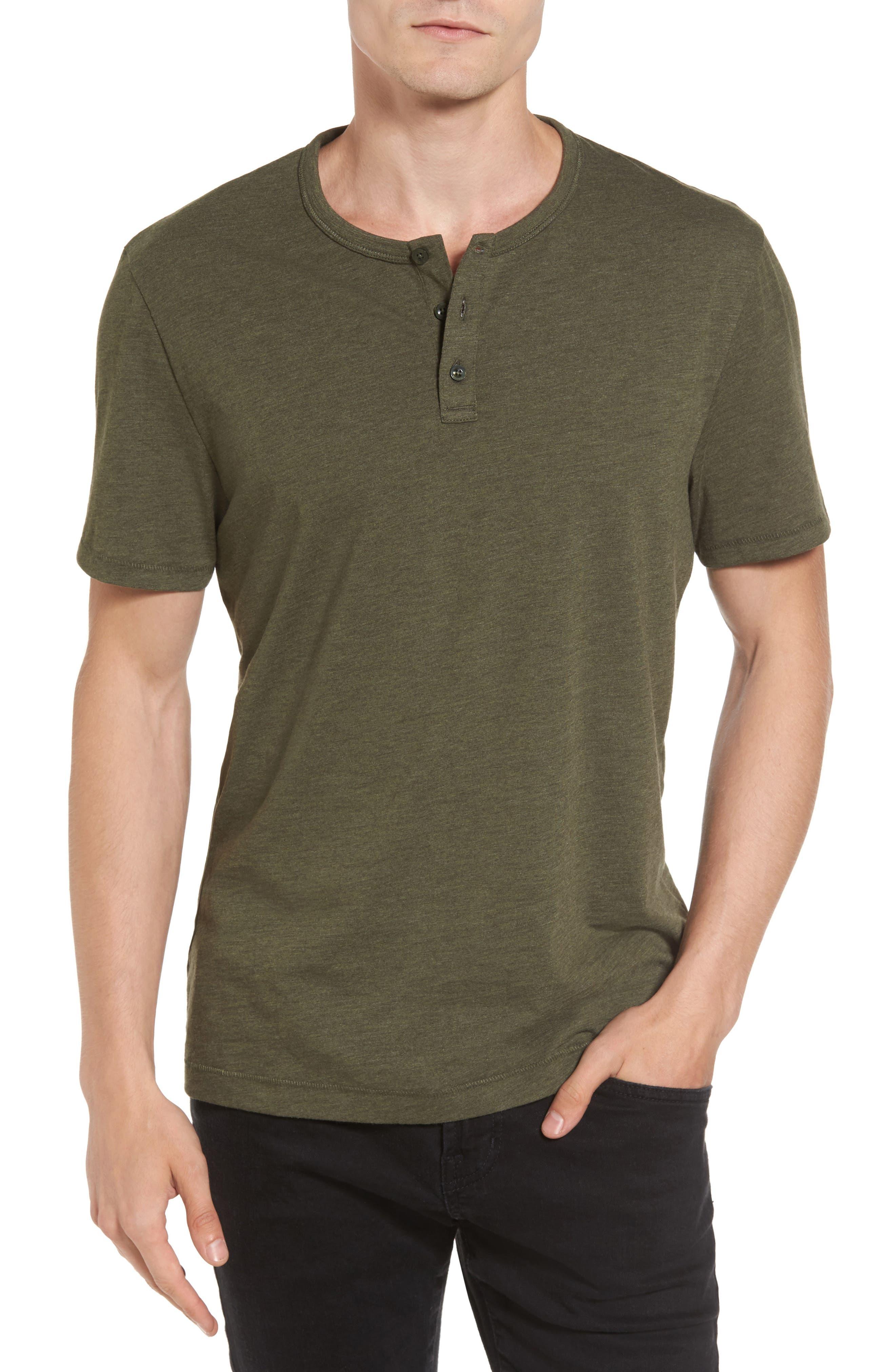 Bing Short Sleeve Henley Shirt,                         Main,                         color, Forest Night