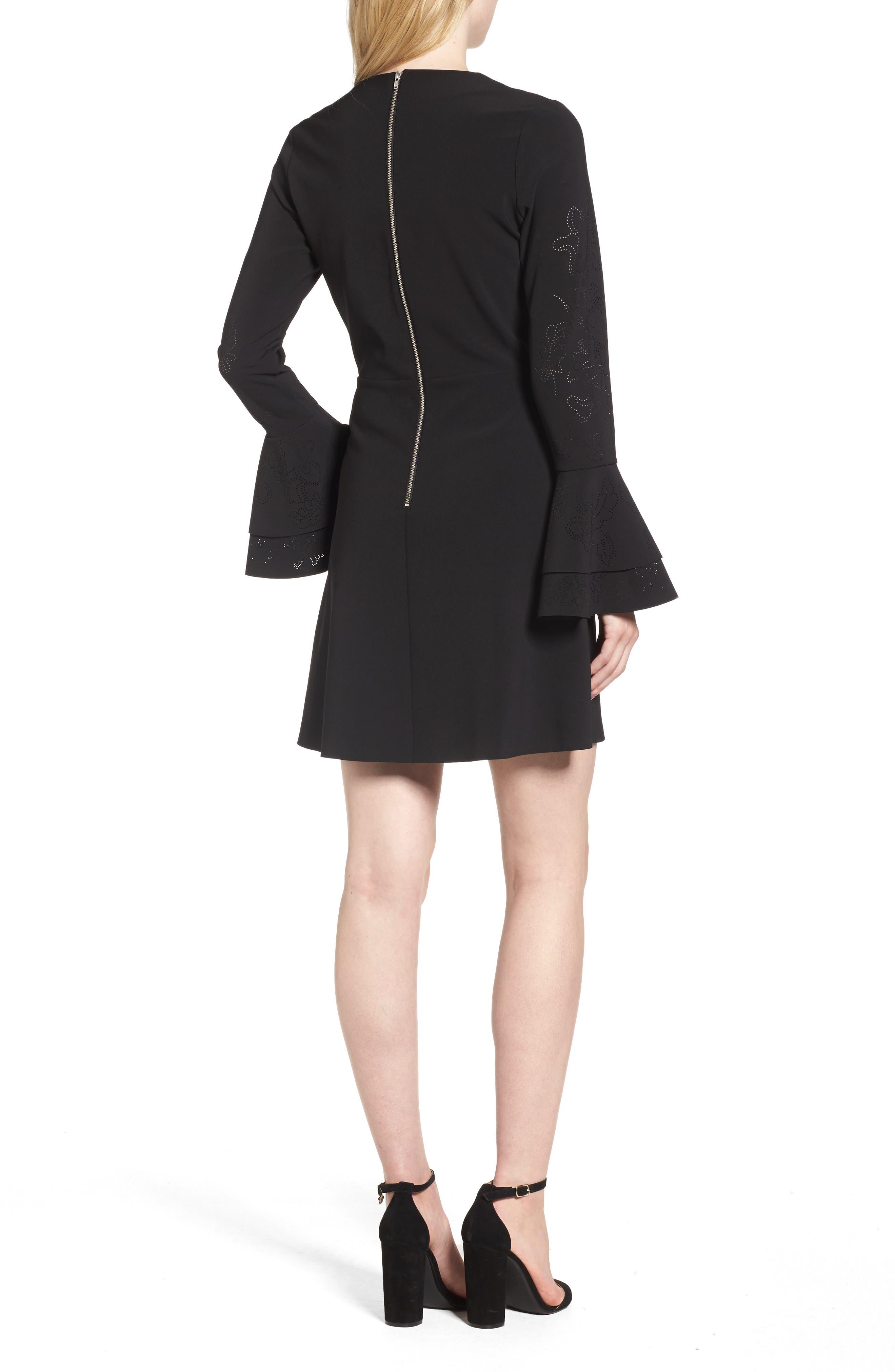 Orlando Ruffle Sleeve Dress,                             Alternate thumbnail 2, color,                             Black