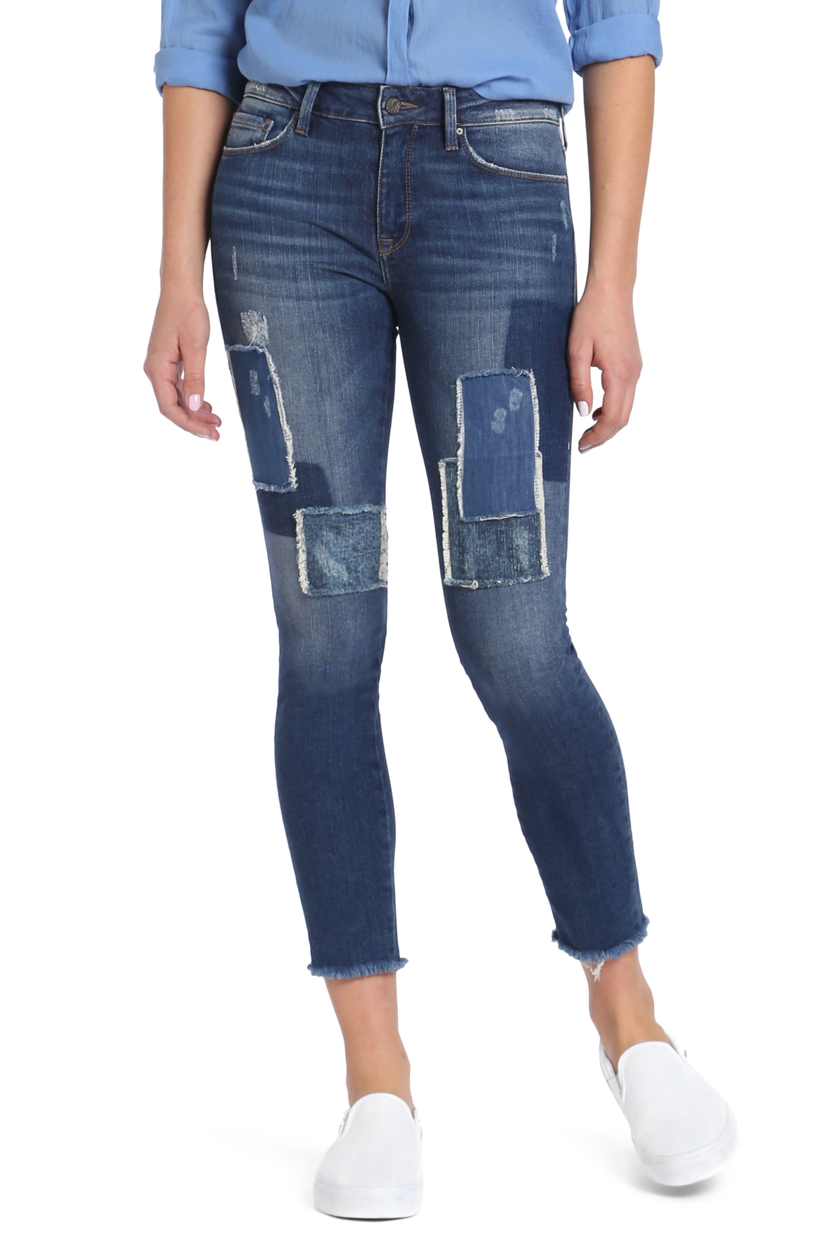 Main Image - Mavi Jeans Adriana Patched Stretch Skinny Jeans (Indigo Patched Vintage)