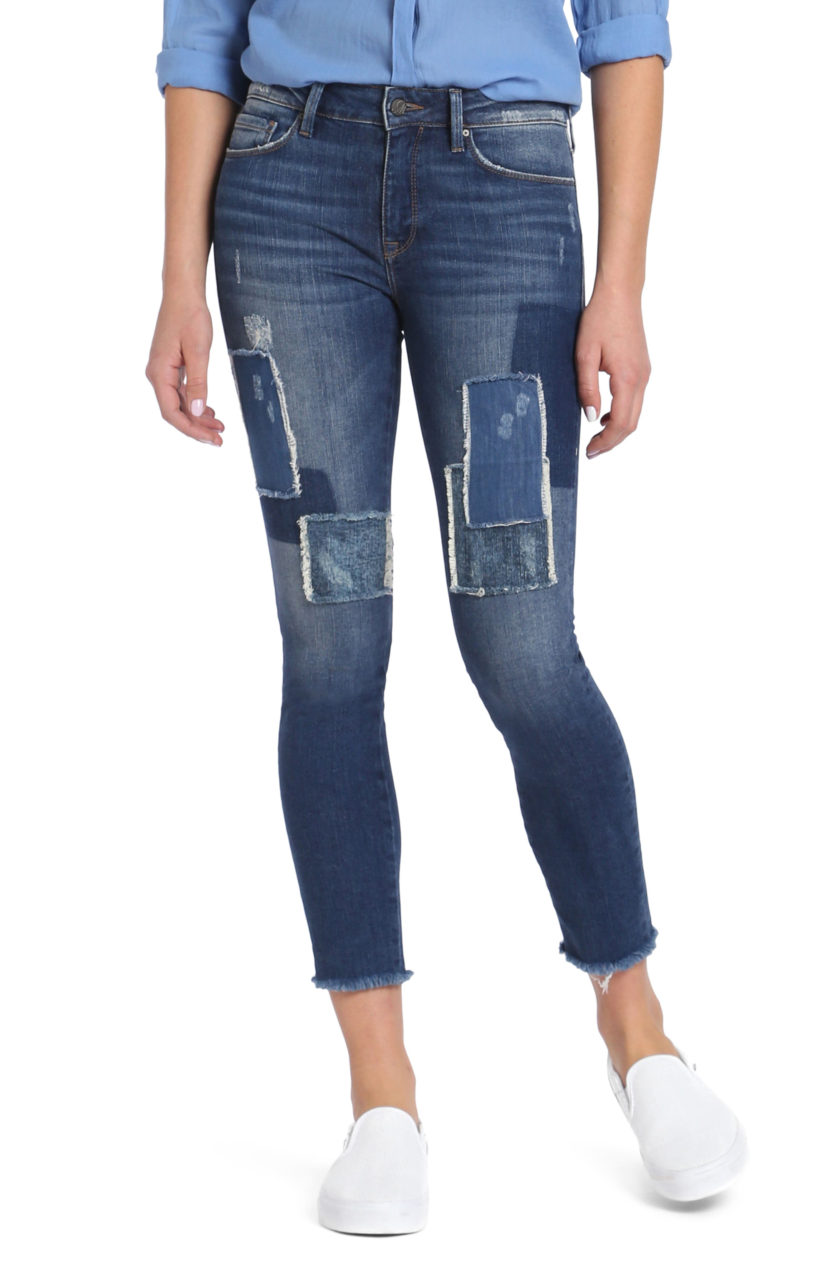 Adriana Patched Stretch Skinny Jeans,                         Main,                         color, Indigo Patched Vintage
