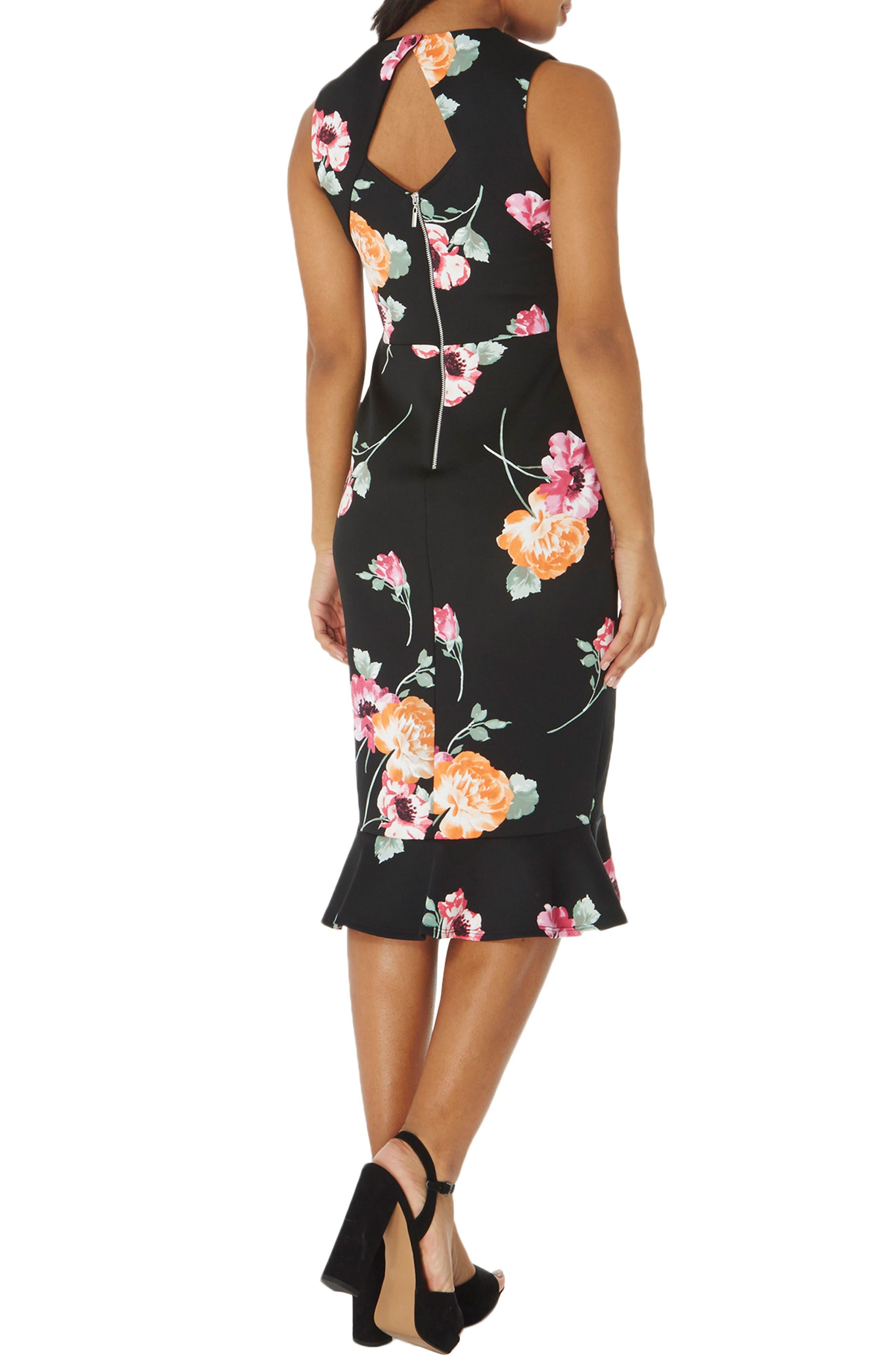 Floral Sheath Dress,                             Alternate thumbnail 2, color,                             Black