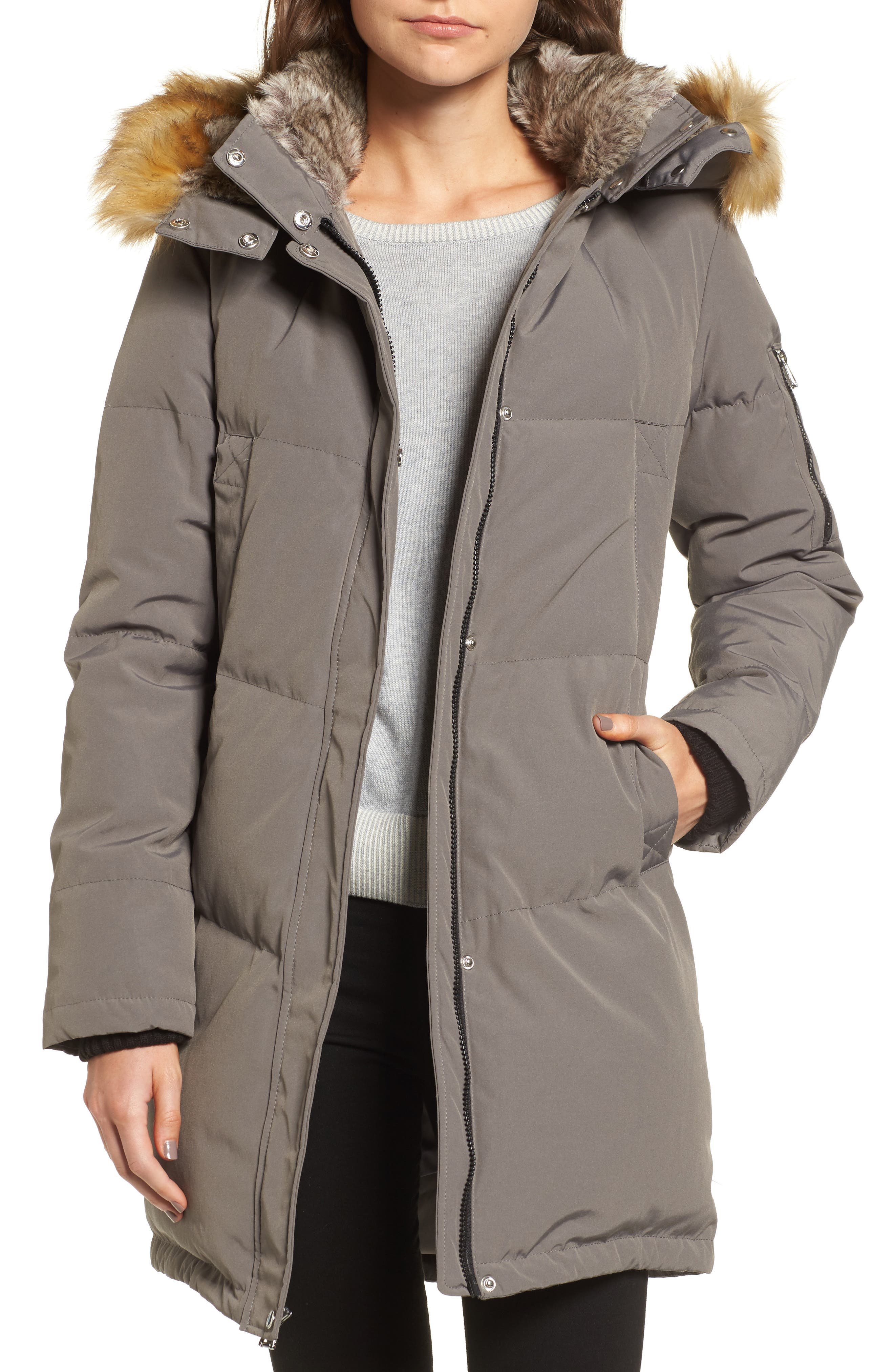 Down & Feather Fill Parka with Faux Fur Trims,                         Main,                         color, Grey