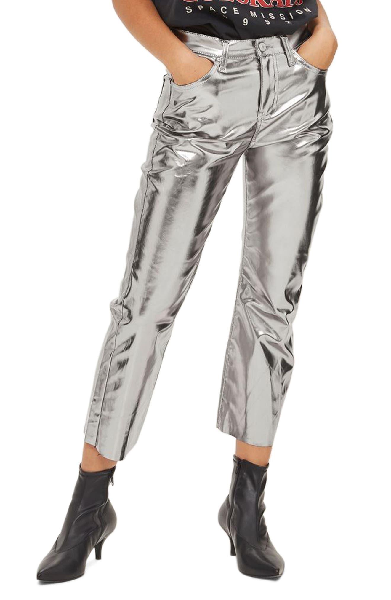 Topshop Dree Metallic Crop Flare Jeans