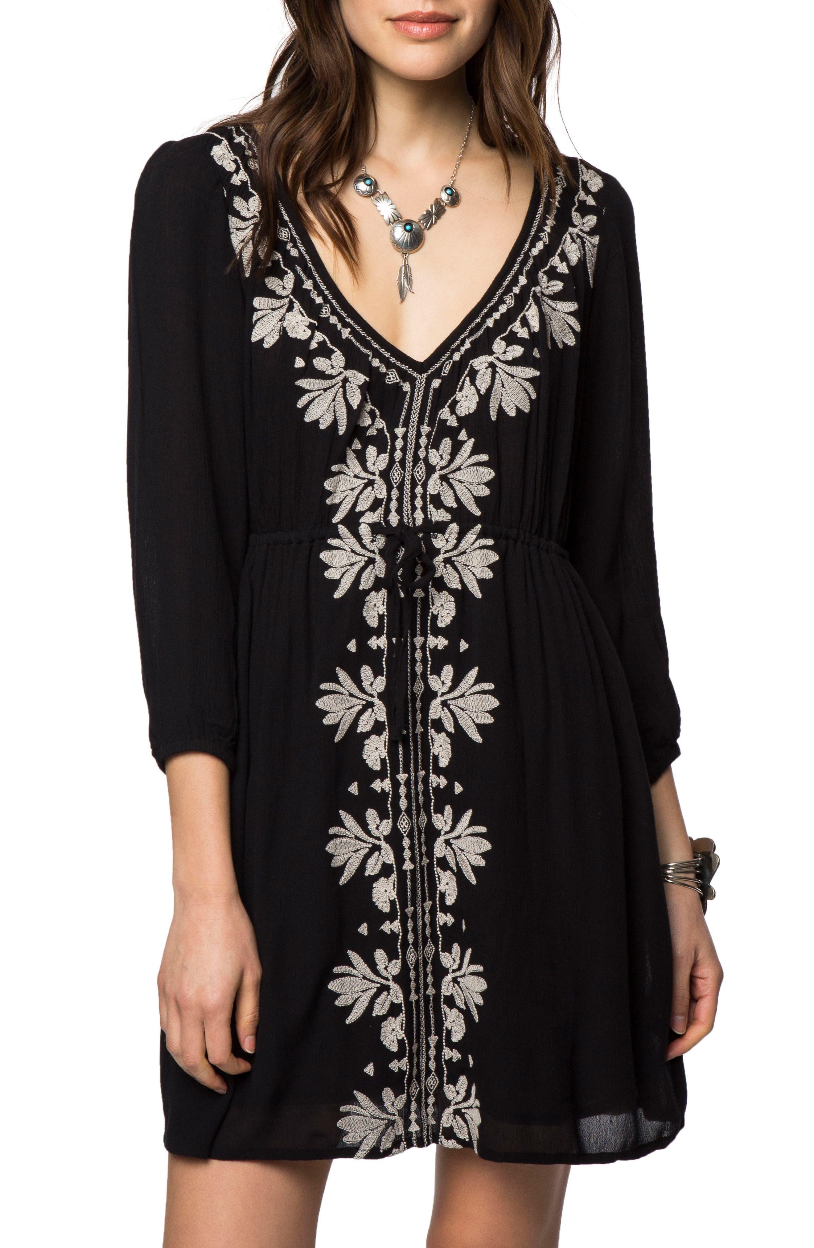 Mina Embroidered Minidress,                         Main,                         color, Black