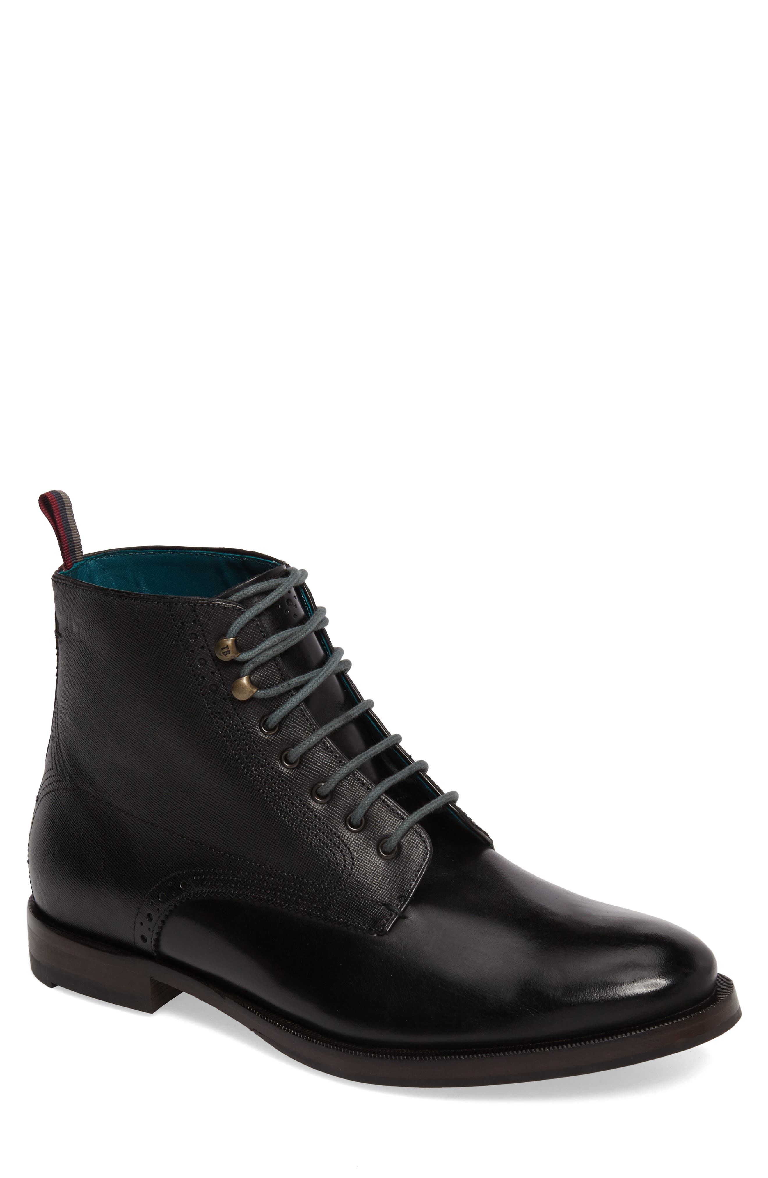 Dhavin Embossed Boot,                             Main thumbnail 1, color,                             Black Leather