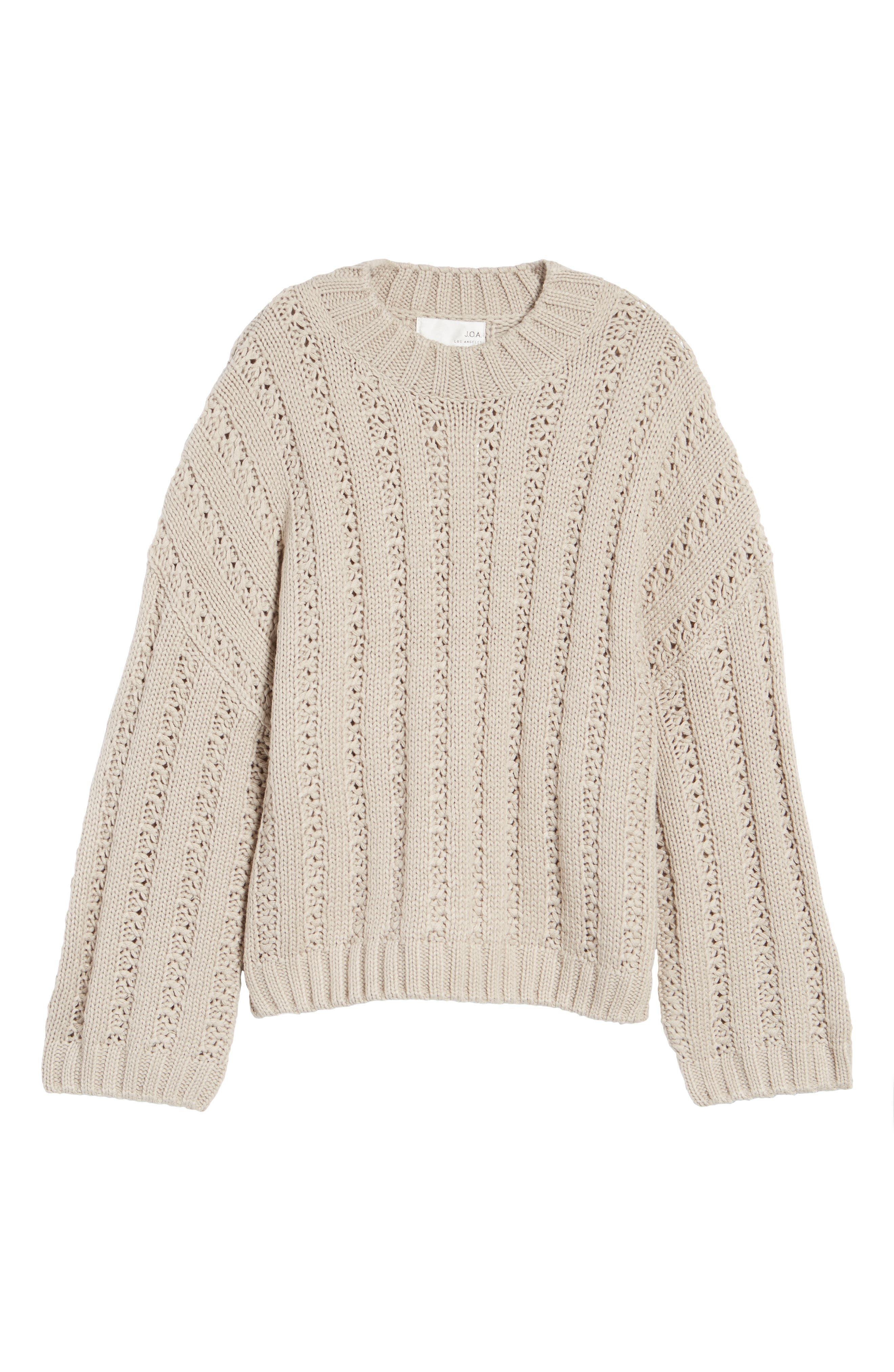Chunky Textured Sweater,                             Alternate thumbnail 6, color,                             Heather Grey