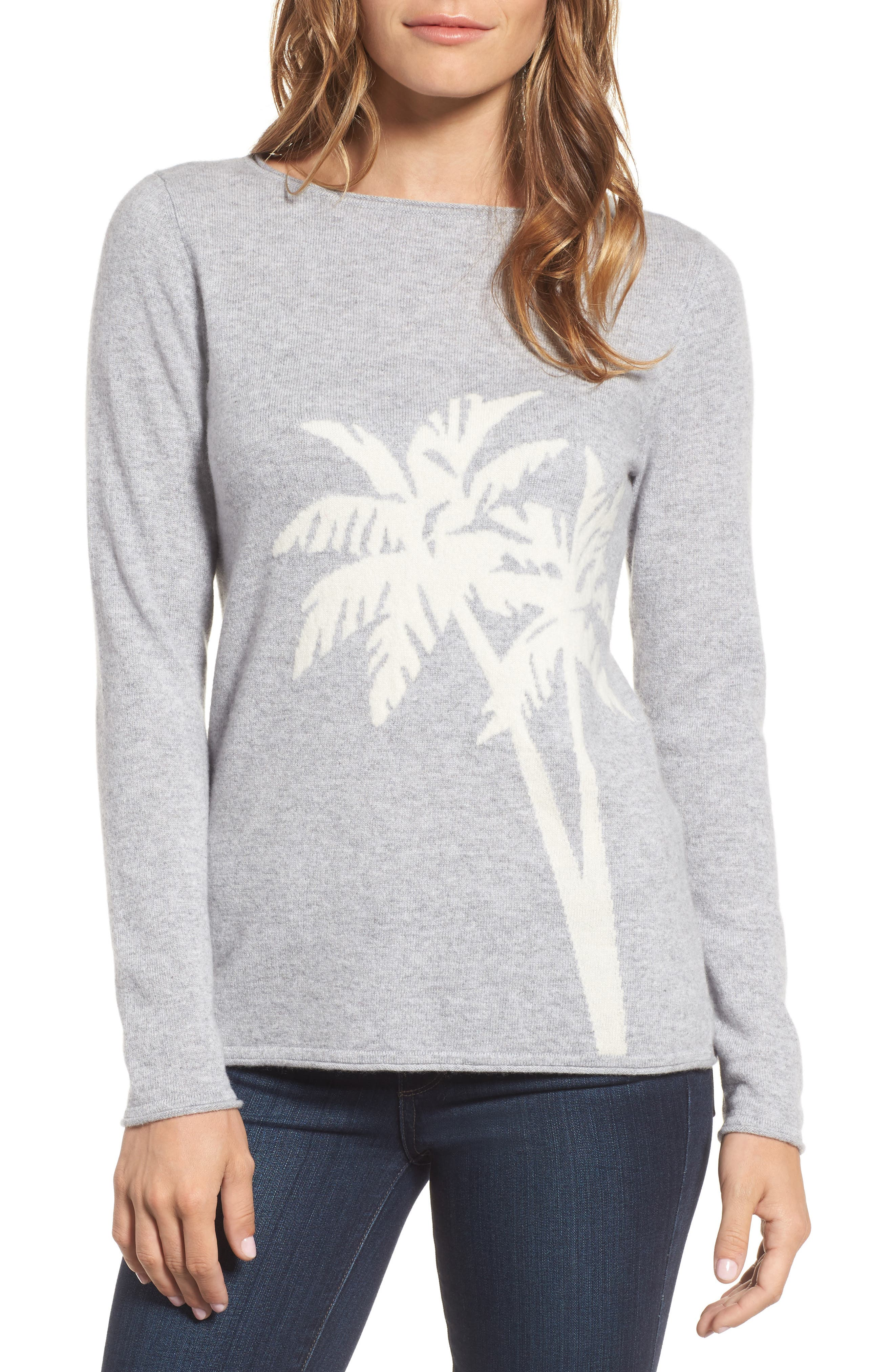 Island Palm Intarsia Cashmere Pullover,                             Main thumbnail 1, color,                             Light Grey Heather