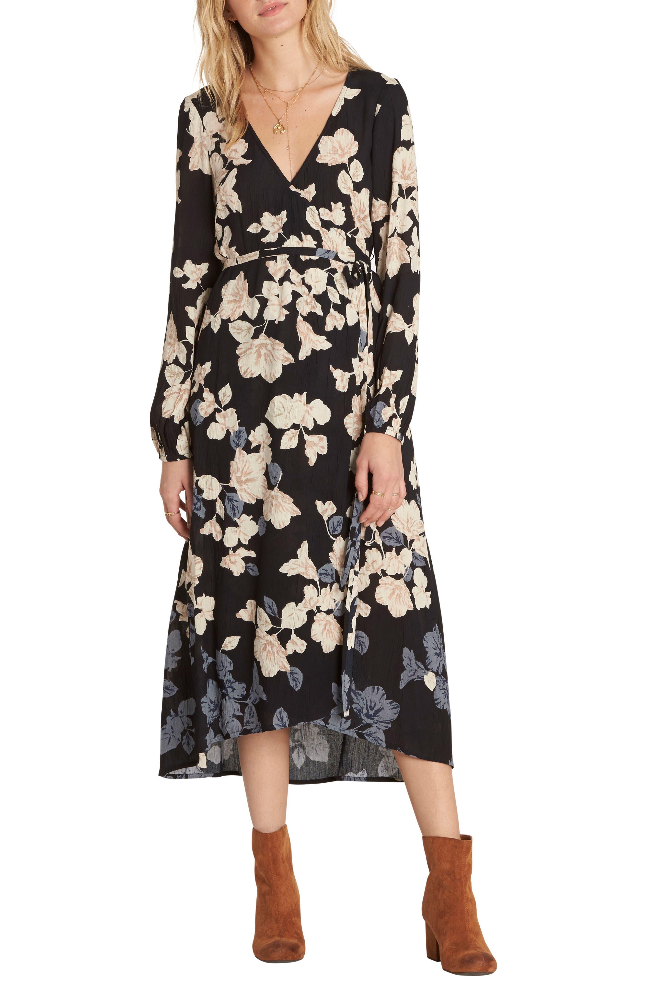 Floral Fever Midi Dress,                             Main thumbnail 1, color,                             Black