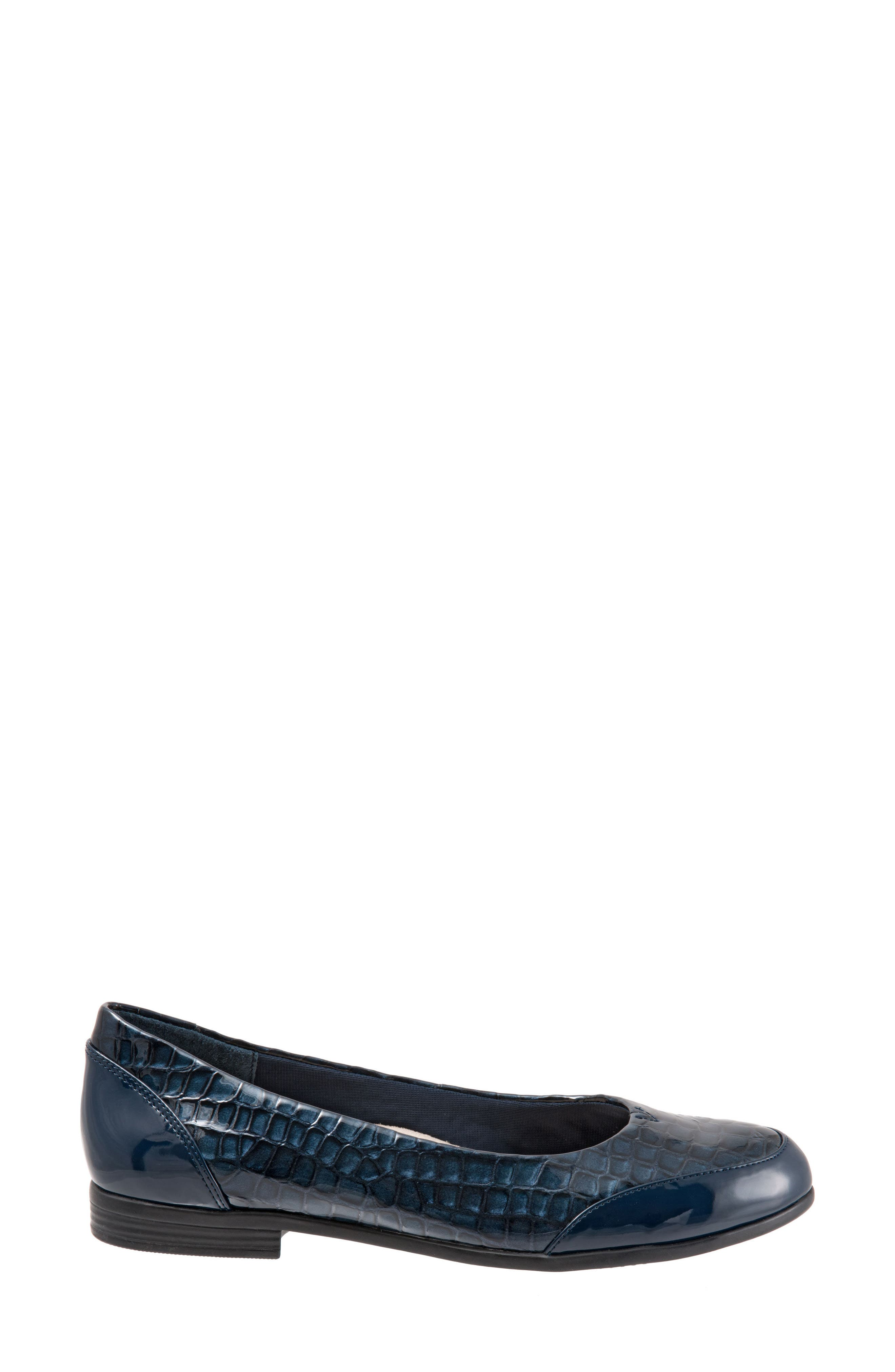 Arnello Flat,                             Alternate thumbnail 3, color,                             Navy Leather