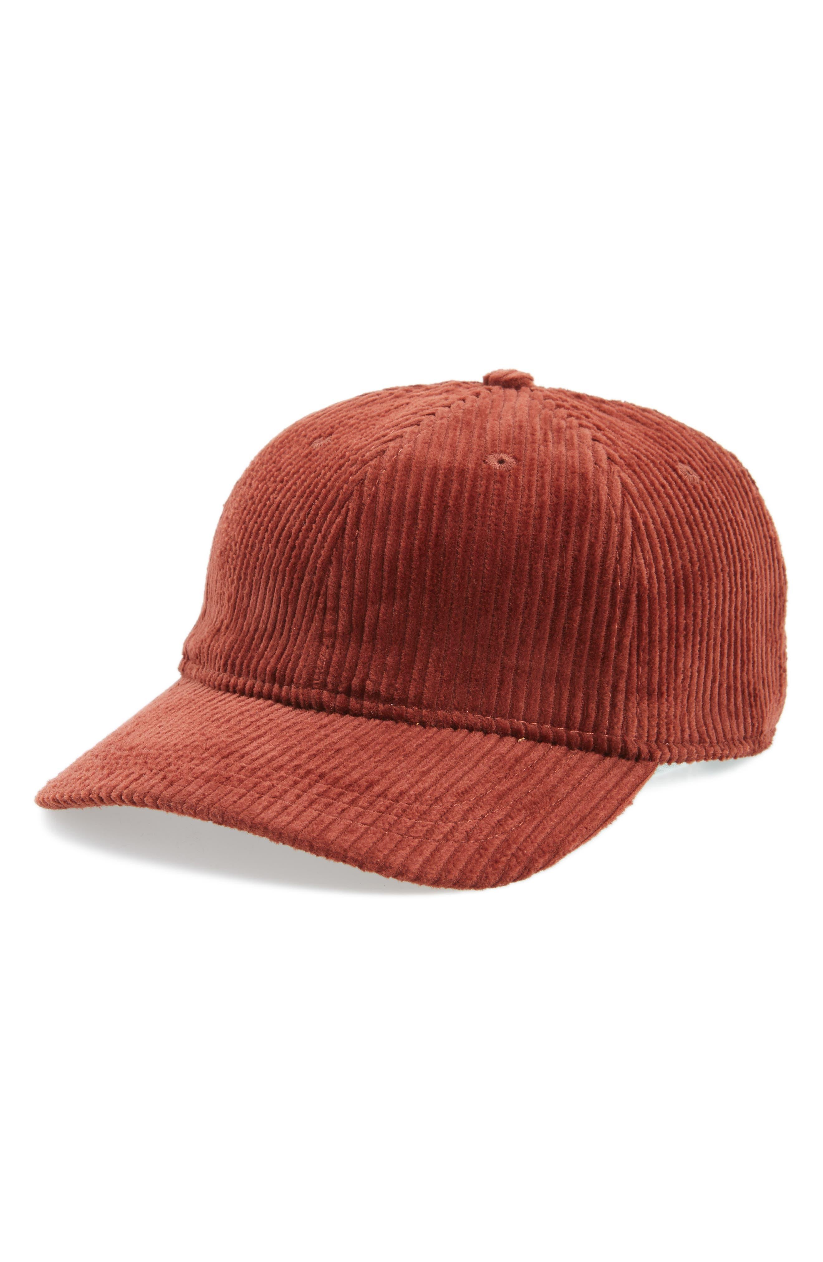 Corduroy Baseball Cap,                         Main,                         color, Burnished Mahogany