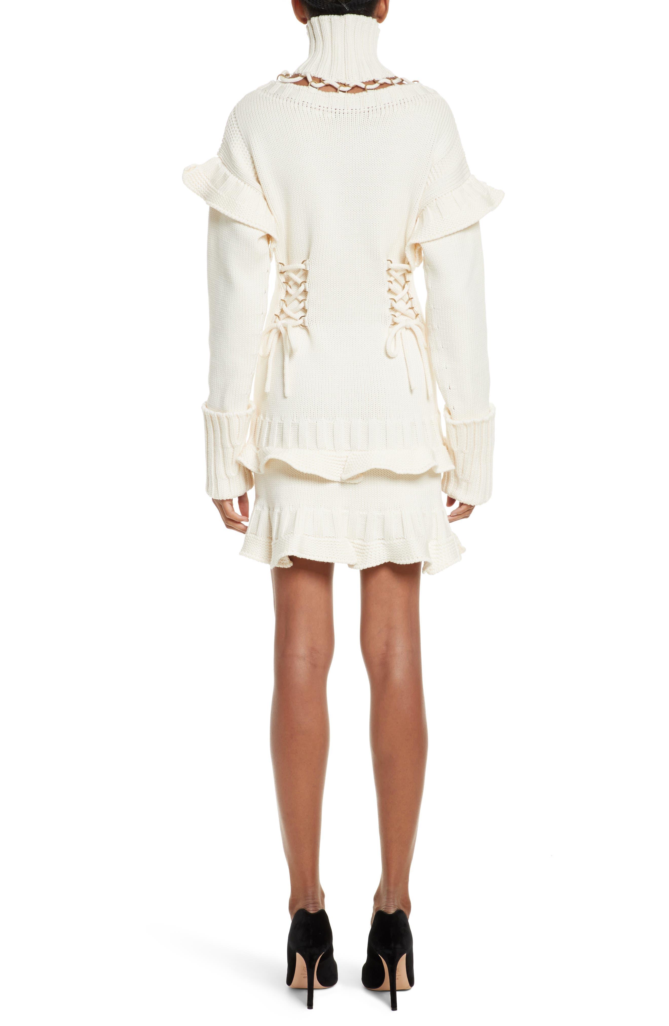 Lace-Up Turtleneck Sweater Dress,                             Alternate thumbnail 2, color,                             Ivory