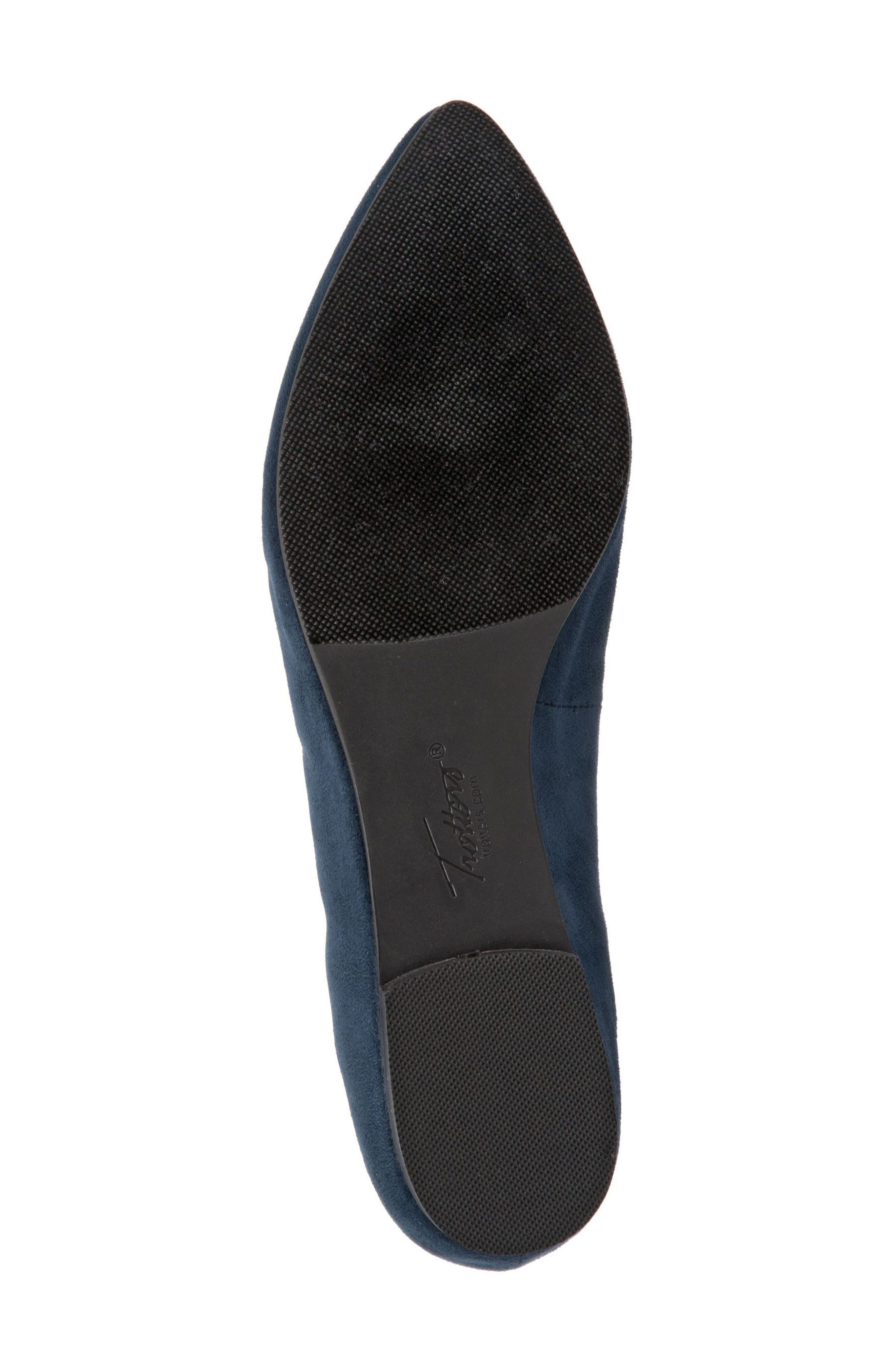 Harlowe Pointy Toe Loafer,                             Alternate thumbnail 6, color,                             Navy Leather