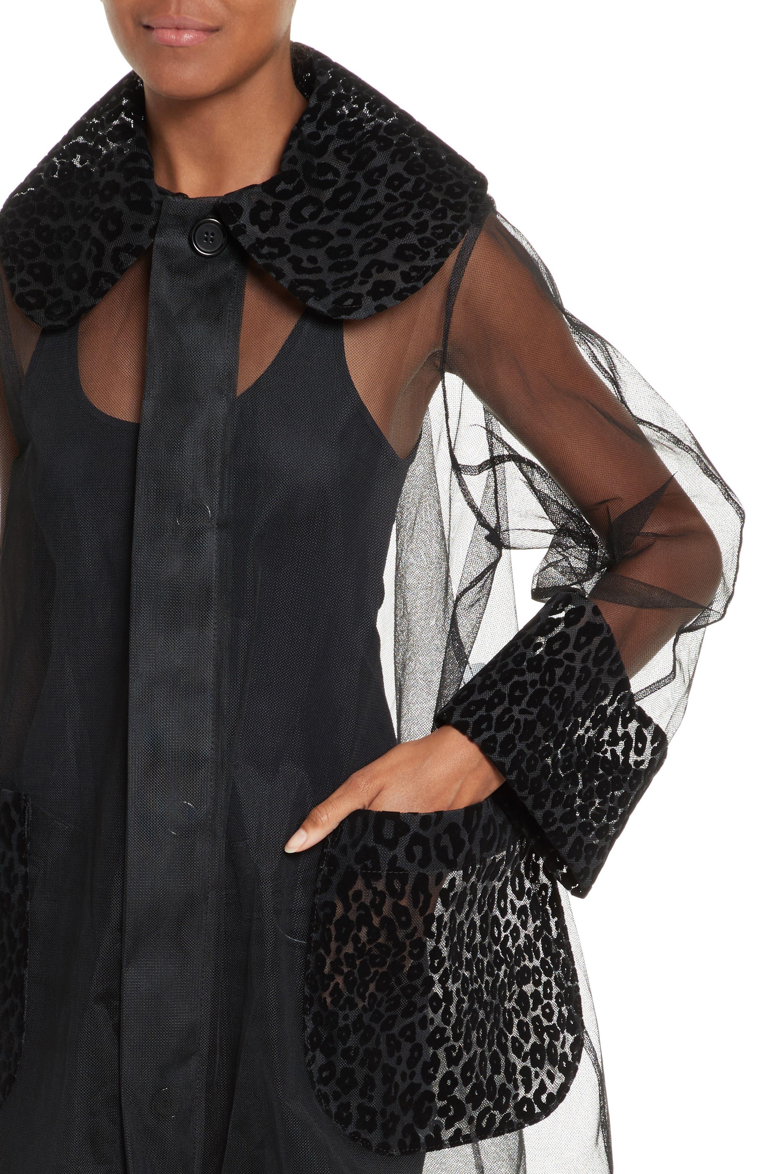 Tulle Coat,                             Alternate thumbnail 4, color,                             Black
