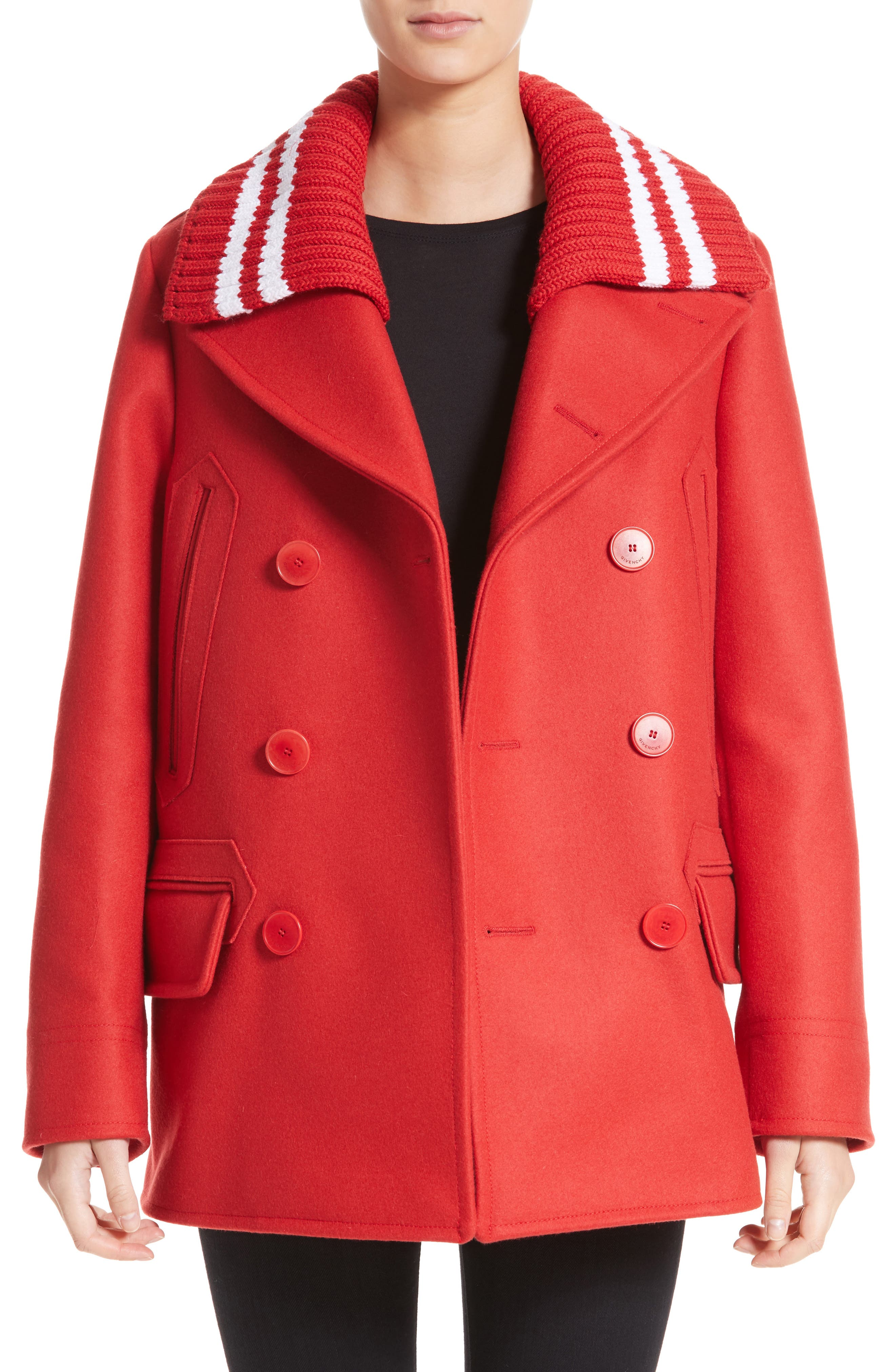 Knit Collar Peacoat,                         Main,                         color, Red