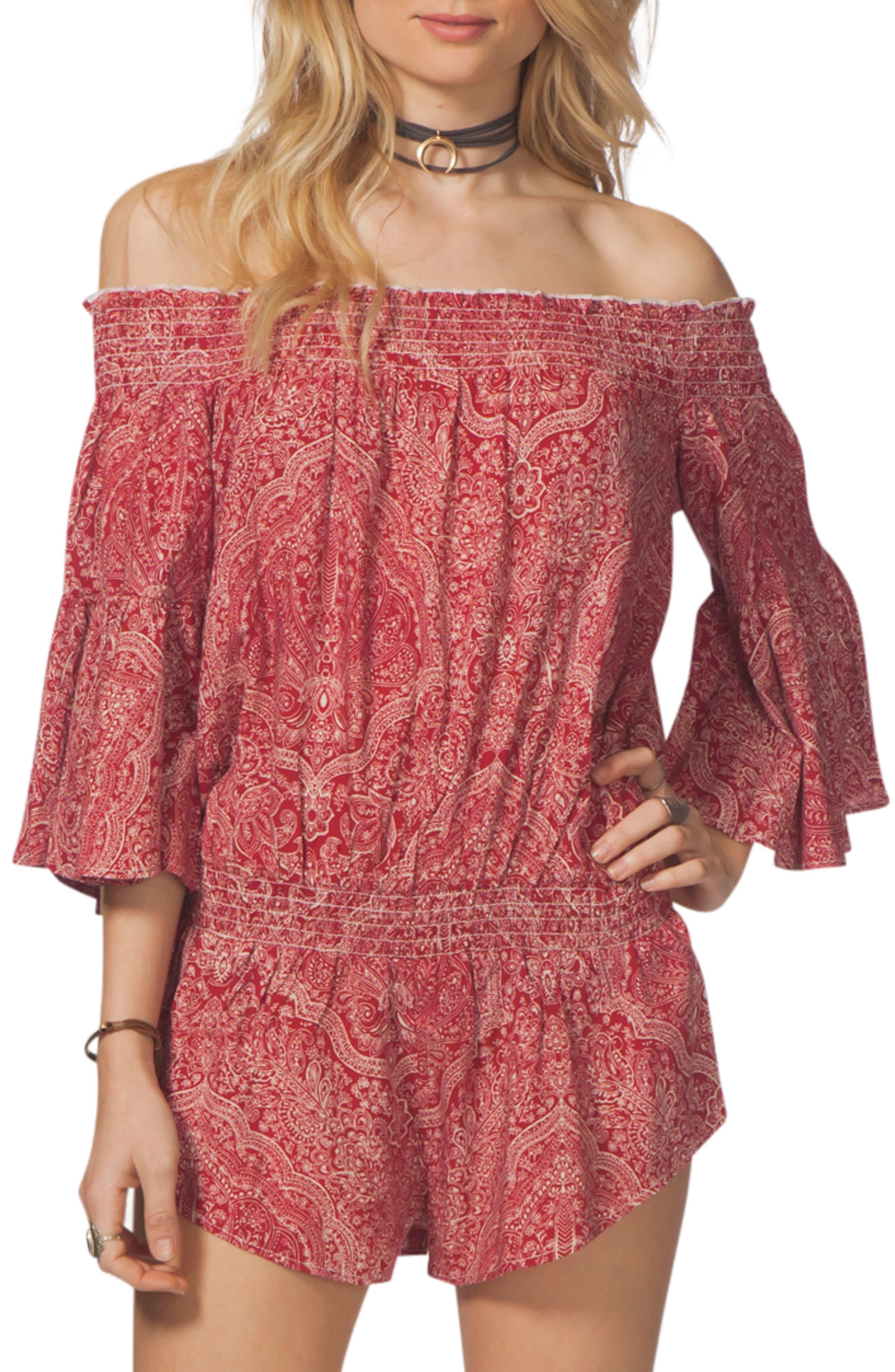 Rip Curl Everglow Paisley Print Off the Shoulder Romper