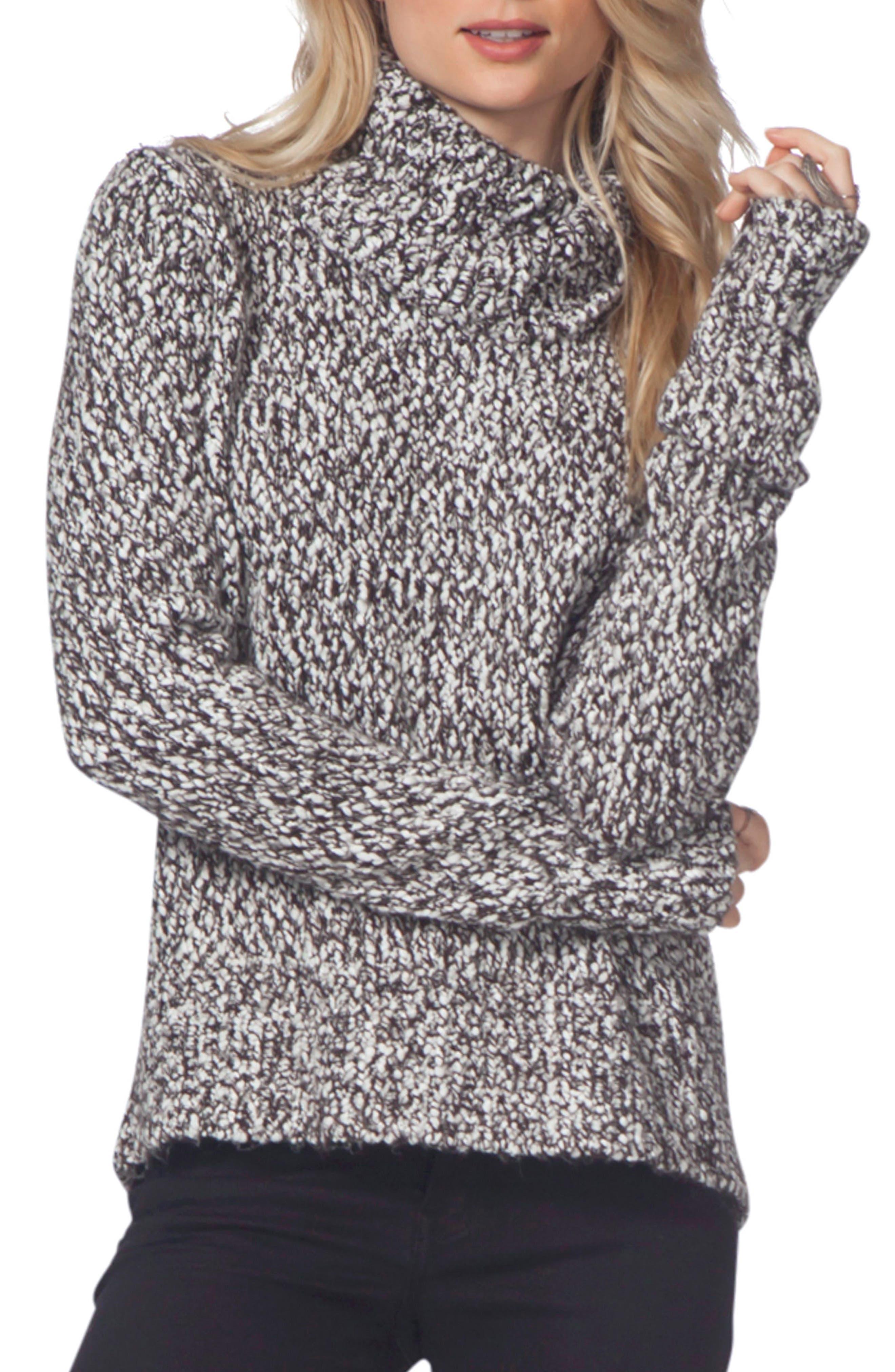 Sailor Turtleneck Sweater,                         Main,                         color, Black/ White