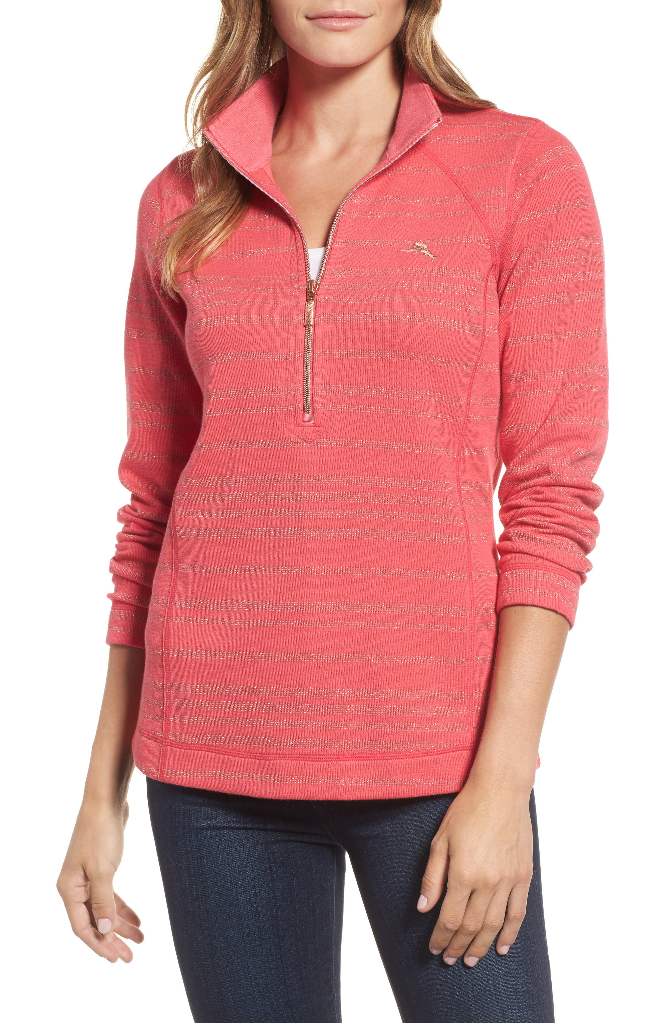 Aruba Shazam Stripe Half-Zip Pullover,                         Main,                         color, Classic Pink