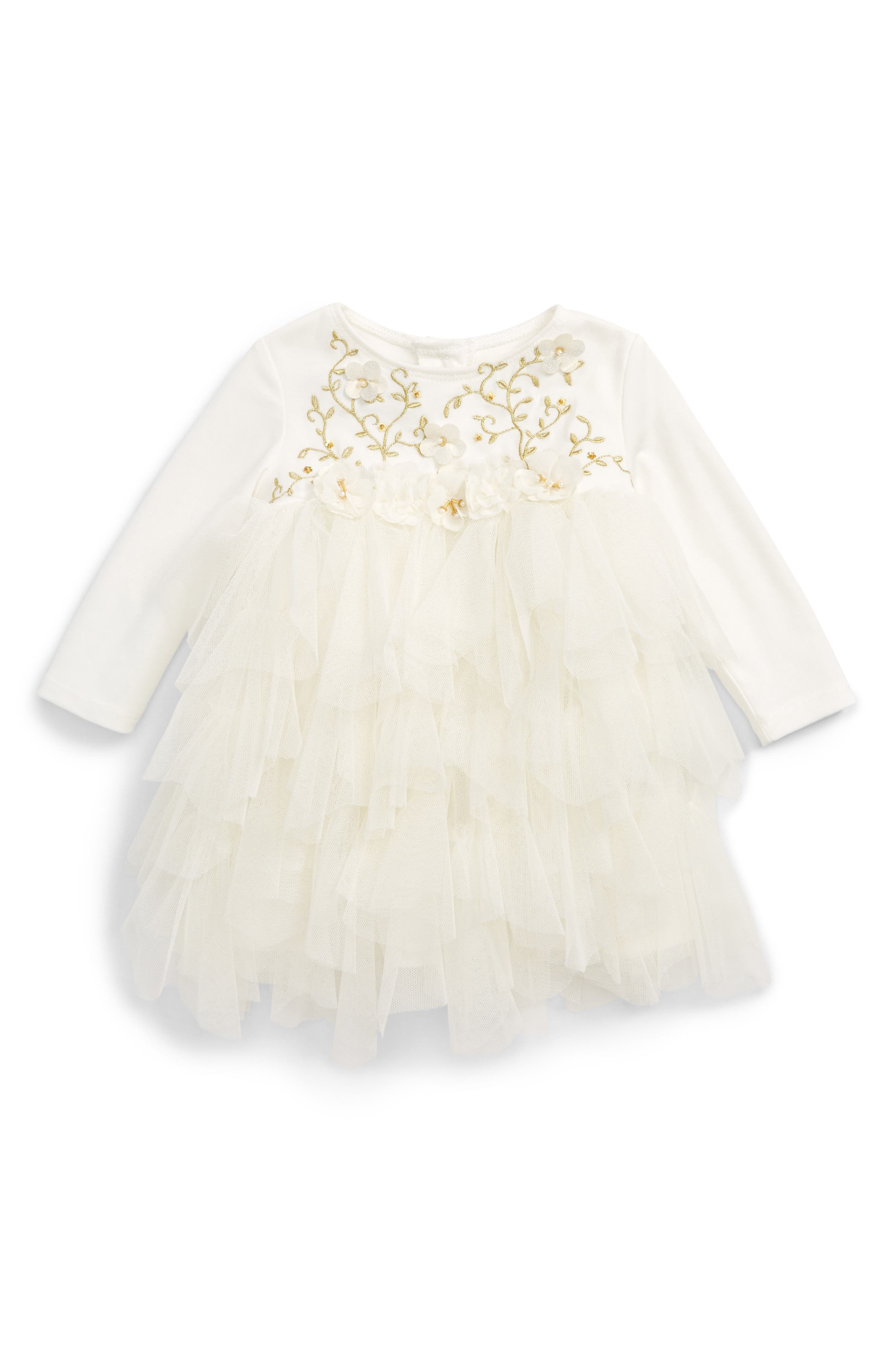 Embroidered Bodice Dress,                         Main,                         color, Ivory