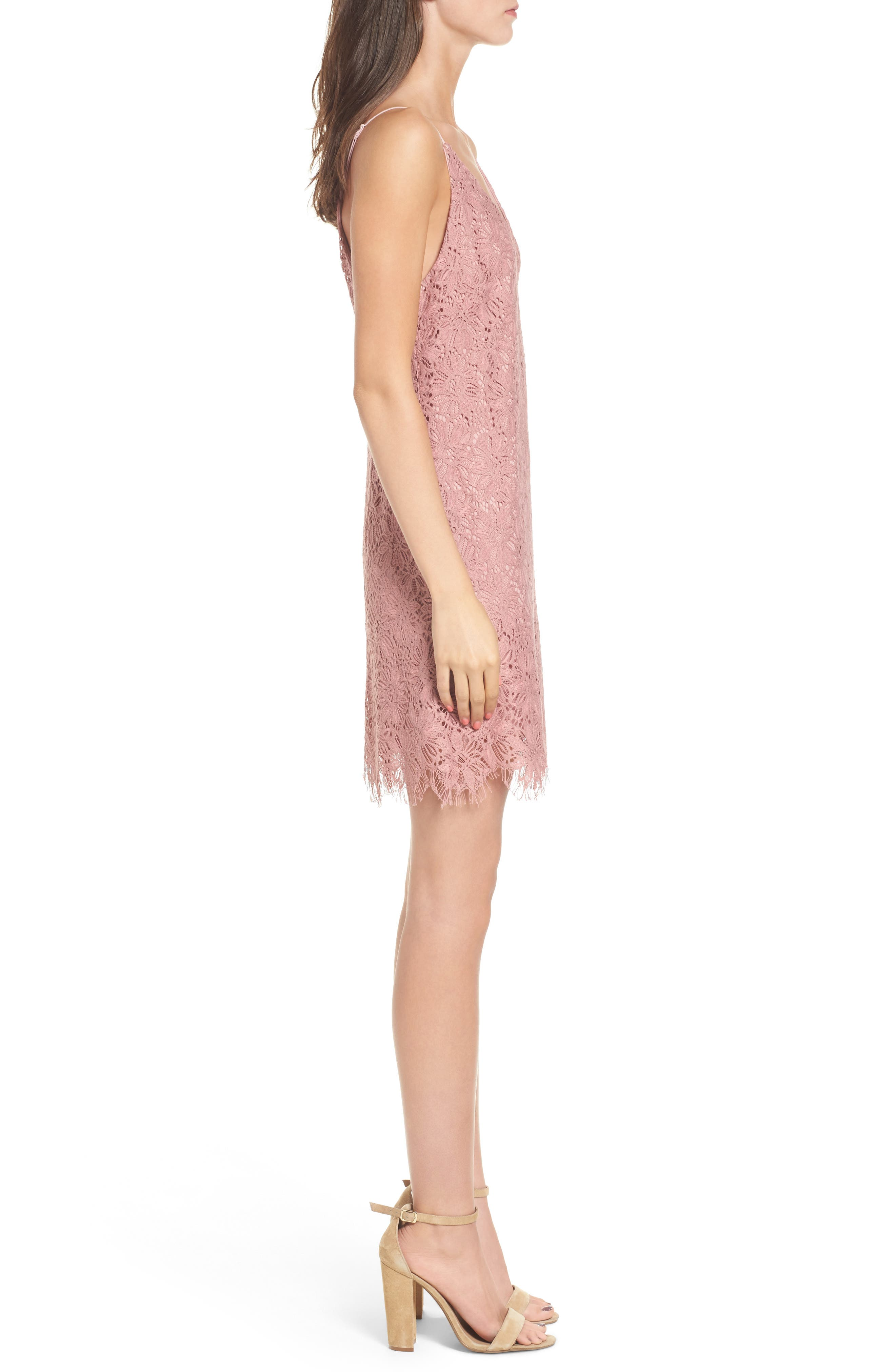 Alternate Image 3  - Speechless Scallop Hem Lace Slipdress
