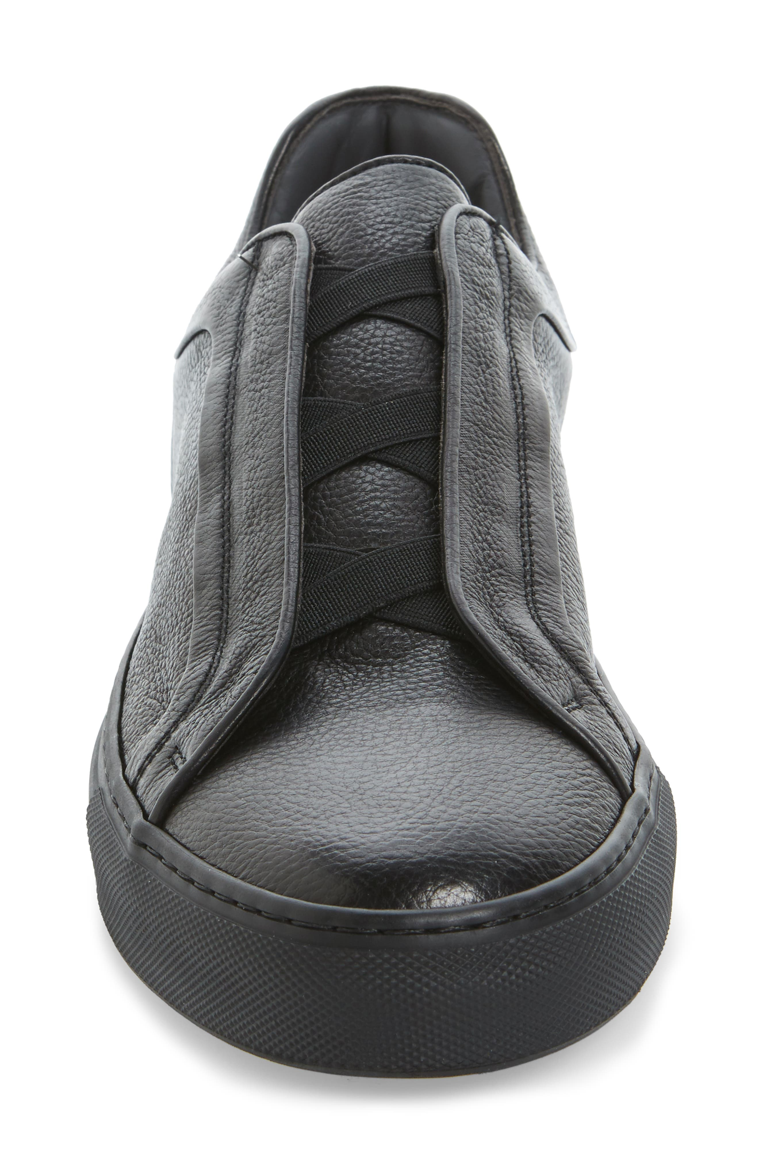 Cliff Sneaker,                             Alternate thumbnail 4, color,                             Black Leather