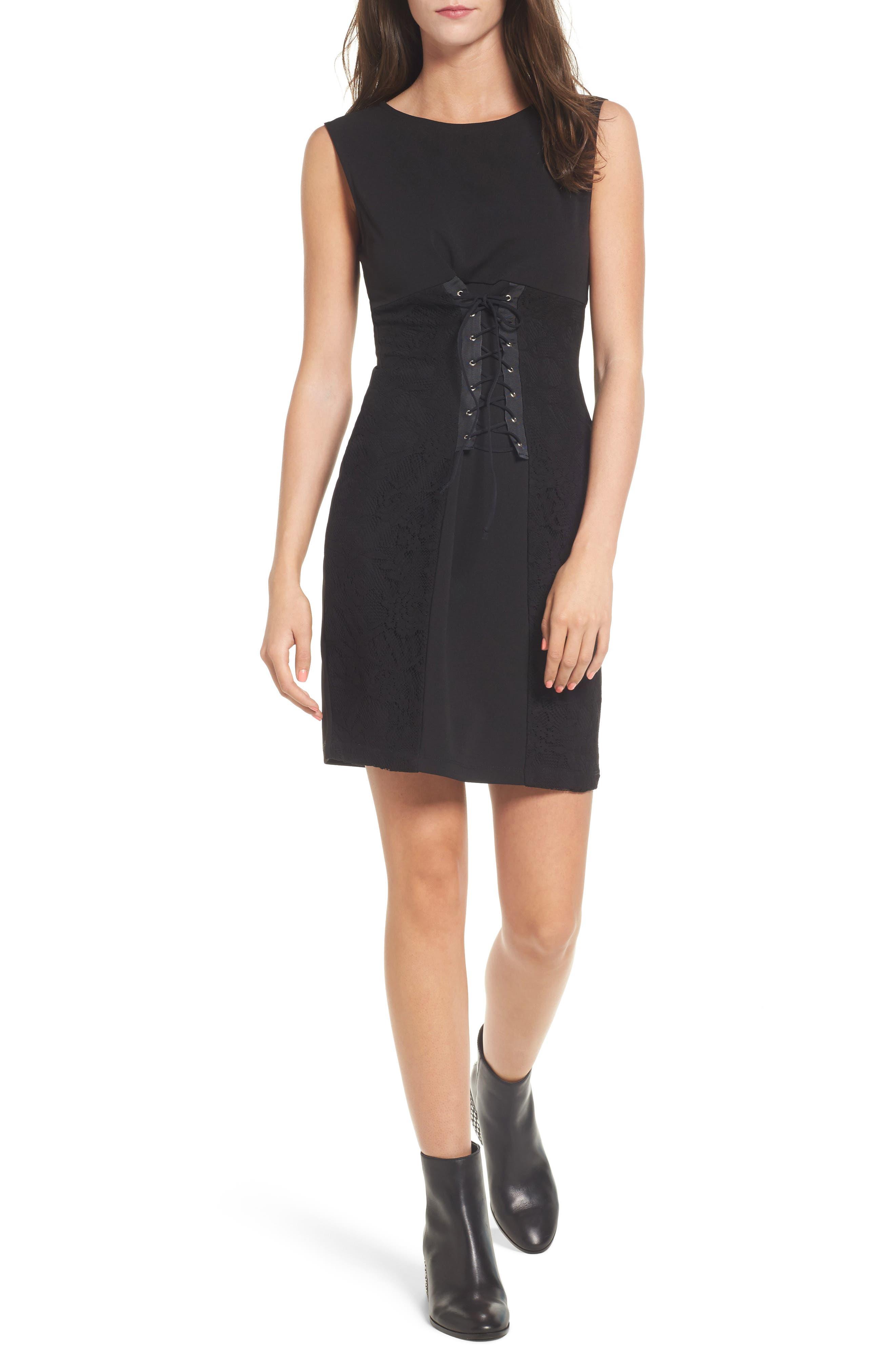 Corset Waist Lace Minidress,                         Main,                         color, Black