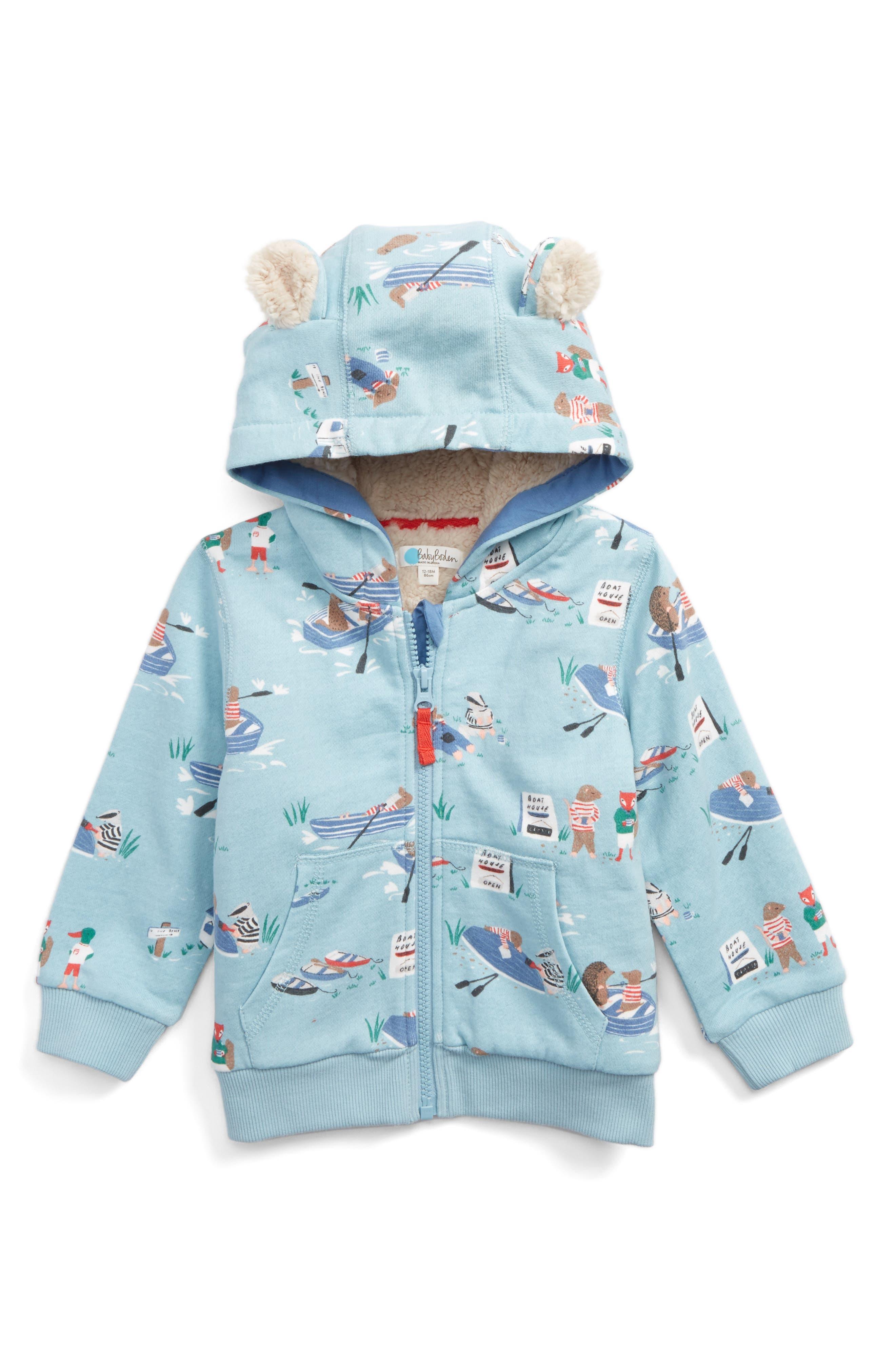 Main Image - Mini Boden Fleece Lined Zip Hoodie (Baby Boys & Toddler Boys)