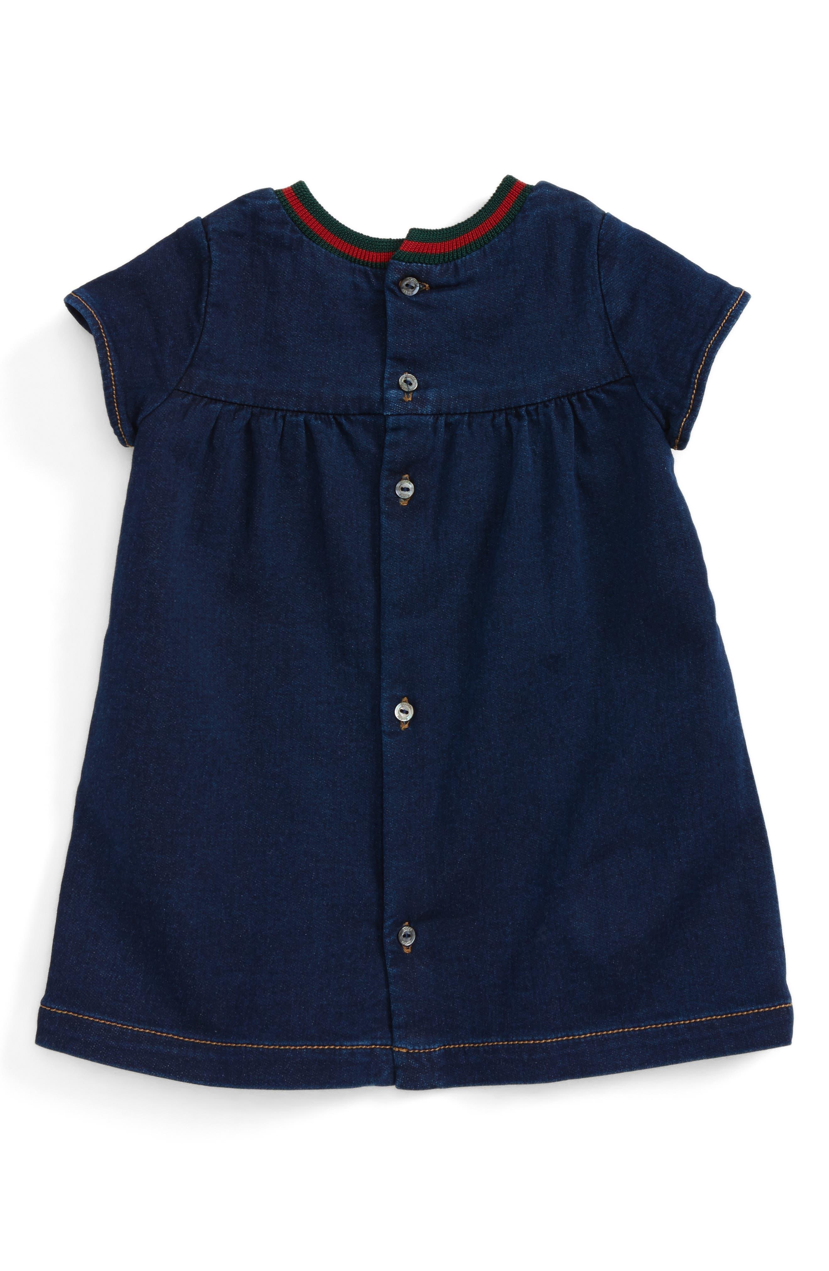 Alternate Image 2  - Gucci Knit Collar Denim Dress (Baby Girls)