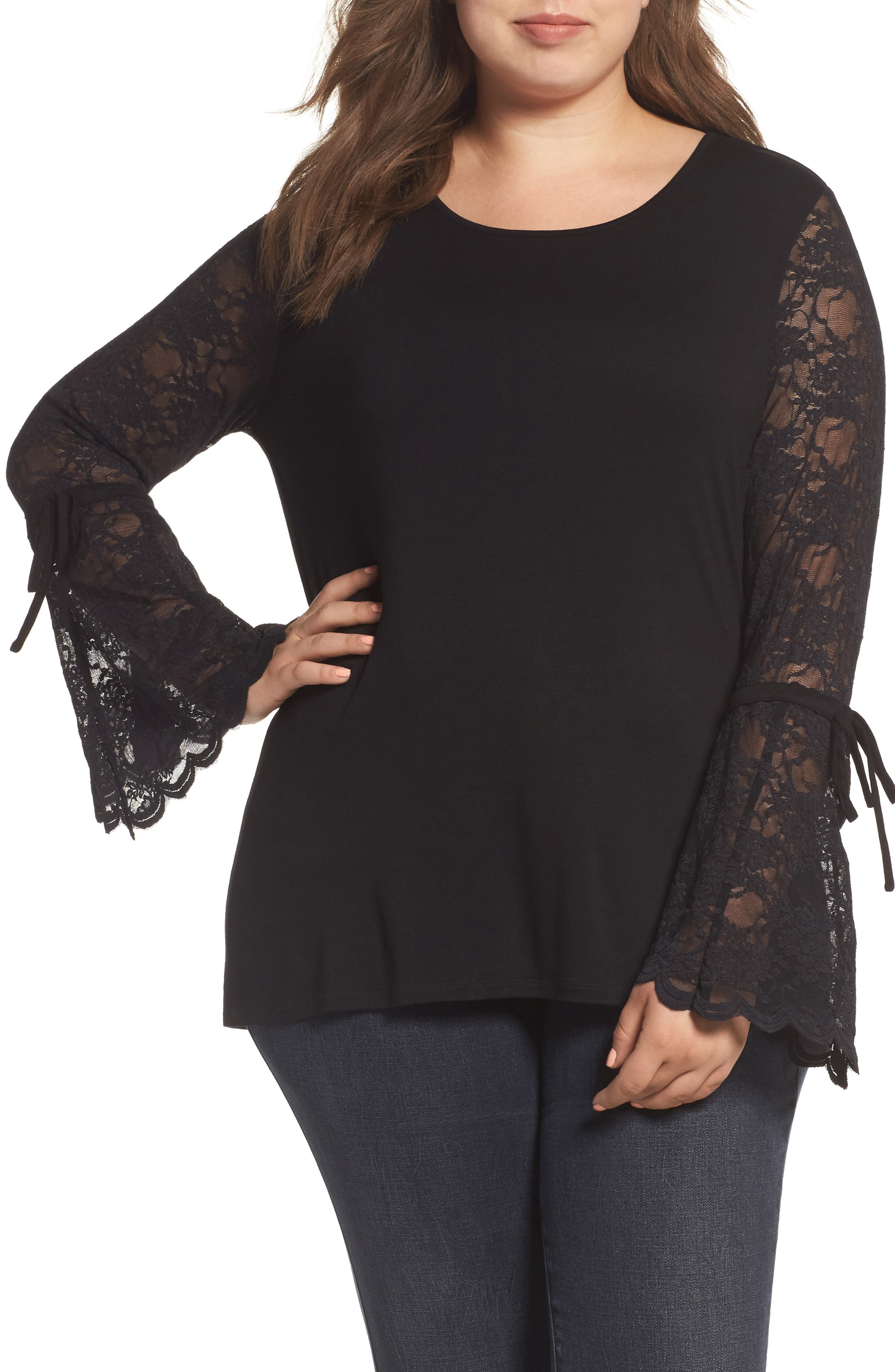 Vince Camuto Flared Lace Sleeve Top (Plus Size)