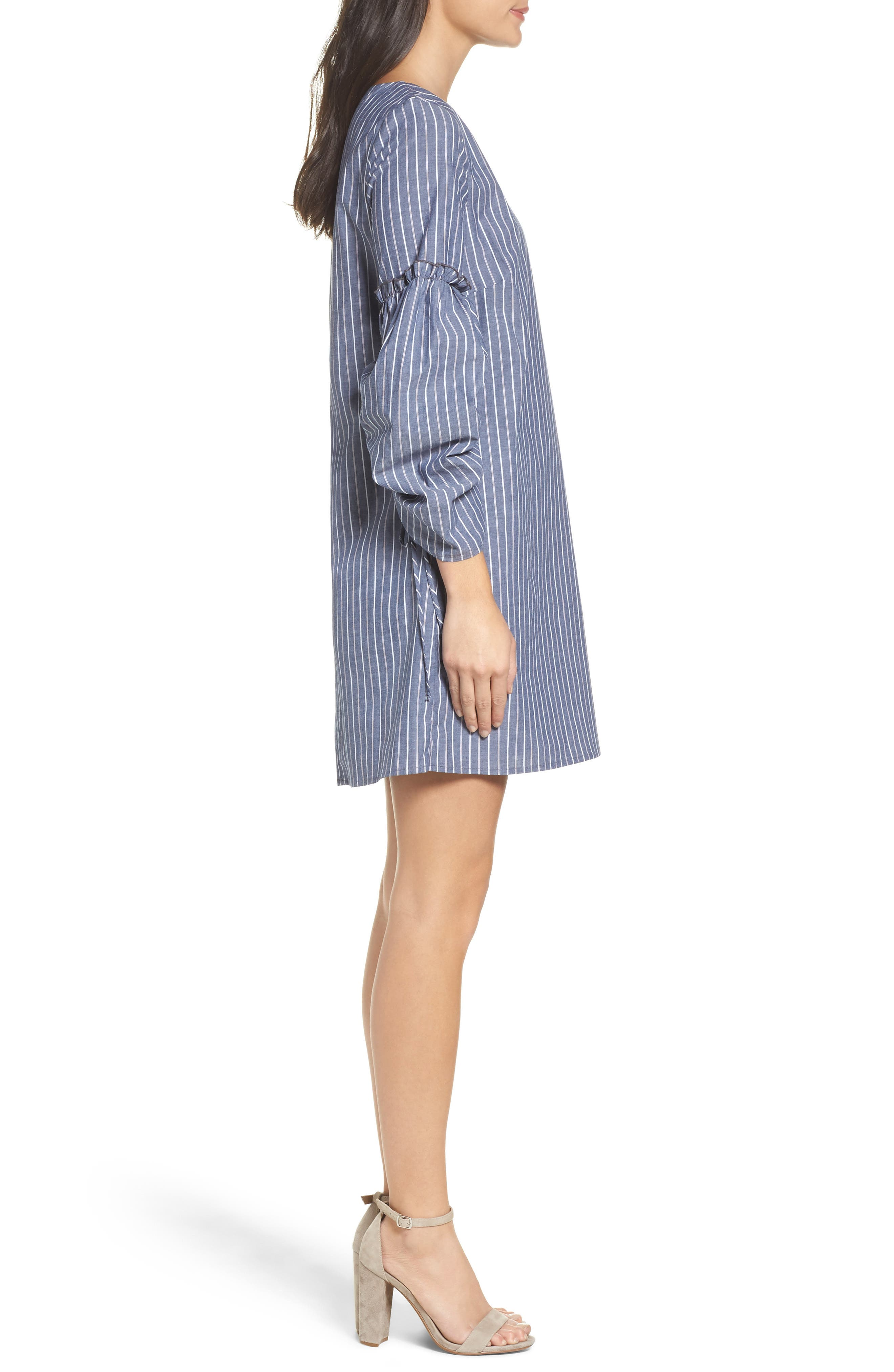 Ruched Sleeve Poplin Shift Dress,                             Alternate thumbnail 3, color,                             Navy Stripe