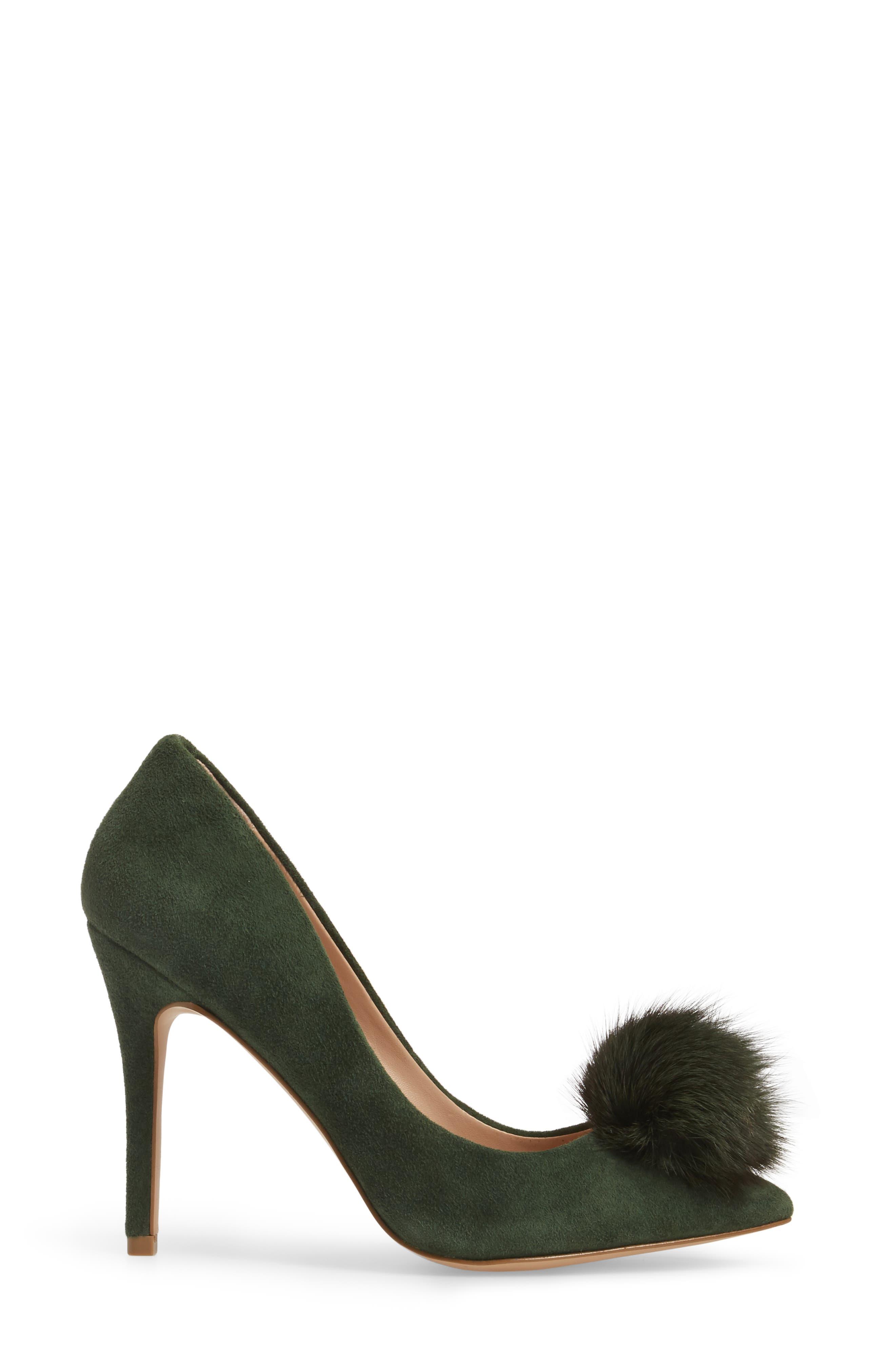 Alternate Image 3  - Charles by Charles David Pixie Pump with Genuine Fox Fur Pom