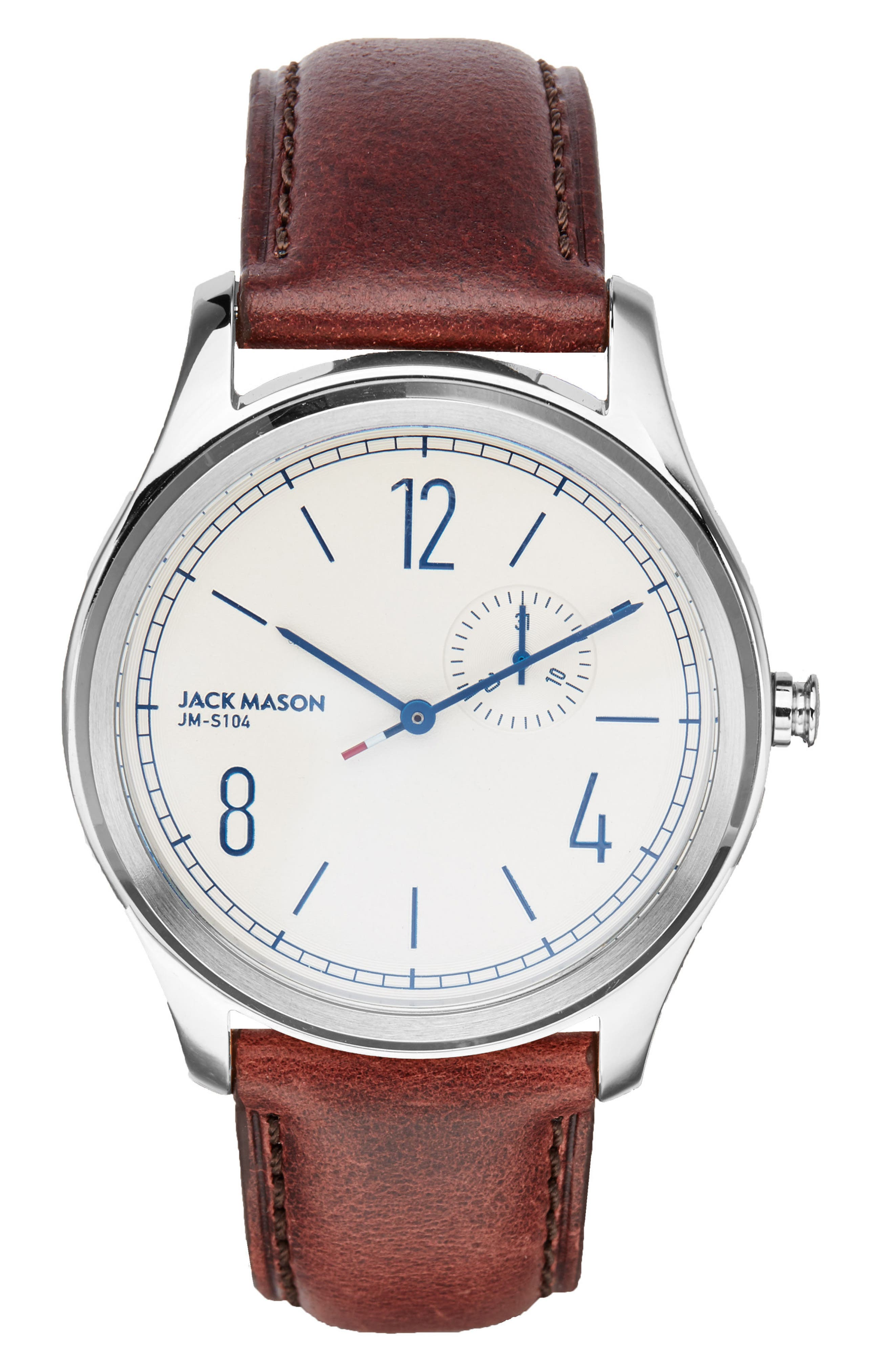 JACK MASON Slim Multifunction Leather Strap Watch, 46mm