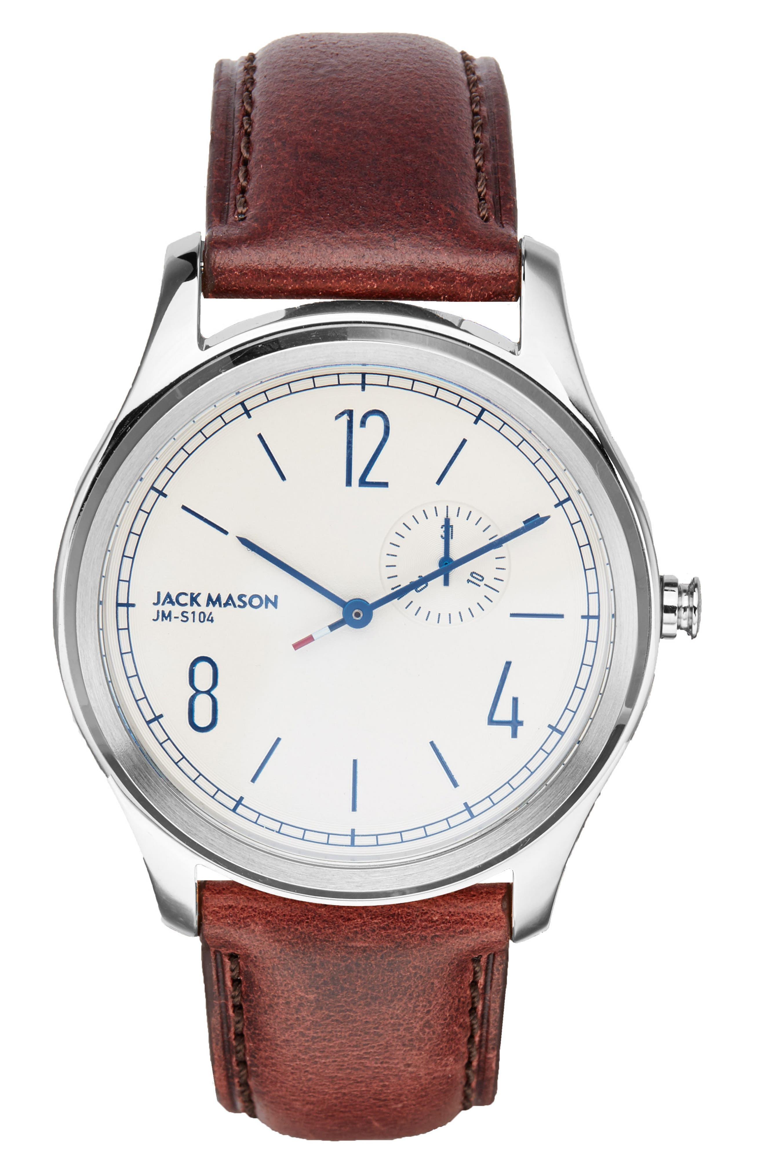 Main Image - Jack Mason Slim Multifunction Leather Strap Watch, 46mm