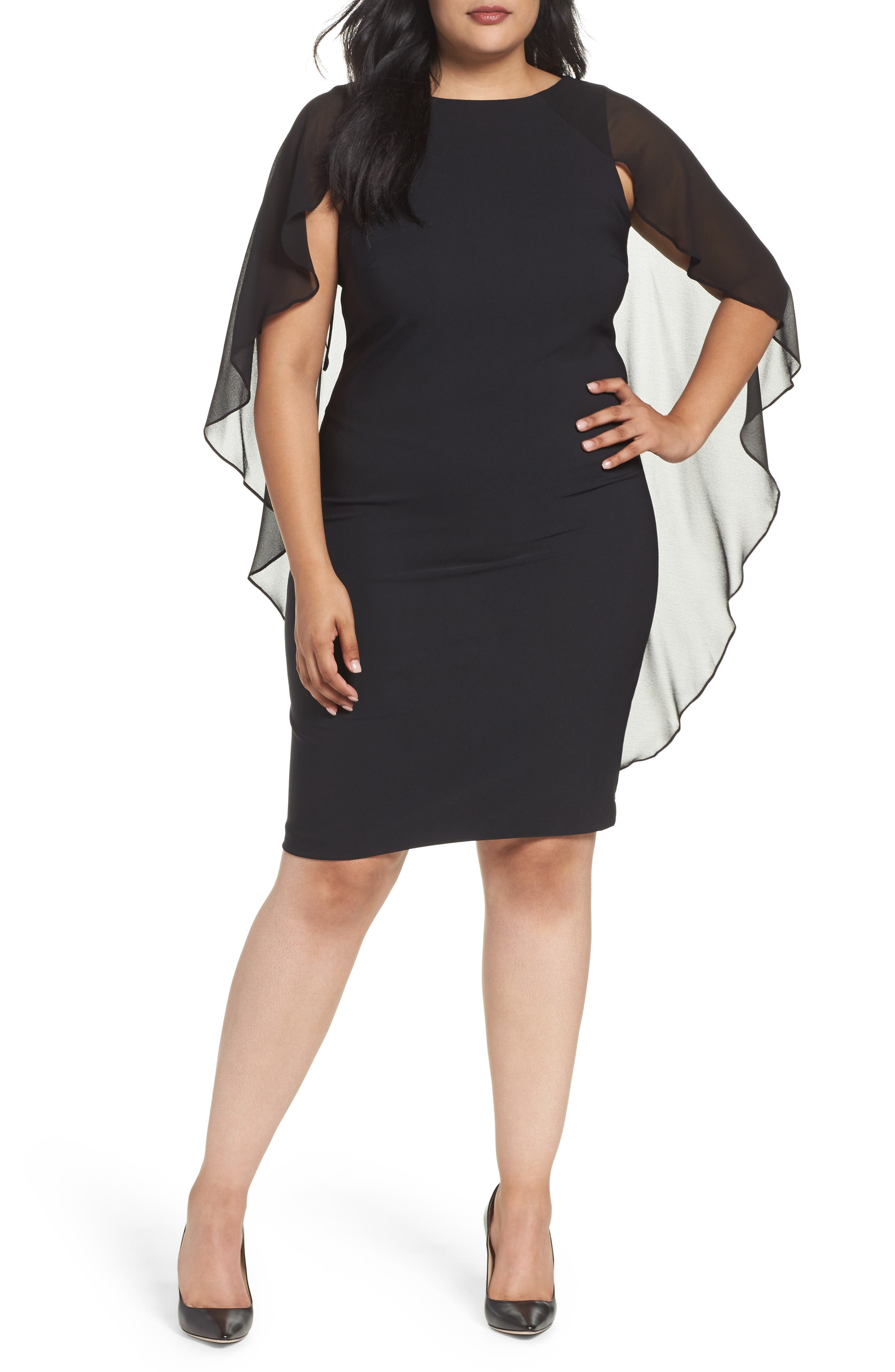 Sangria Capelet Sheath Dress (Plus Size)