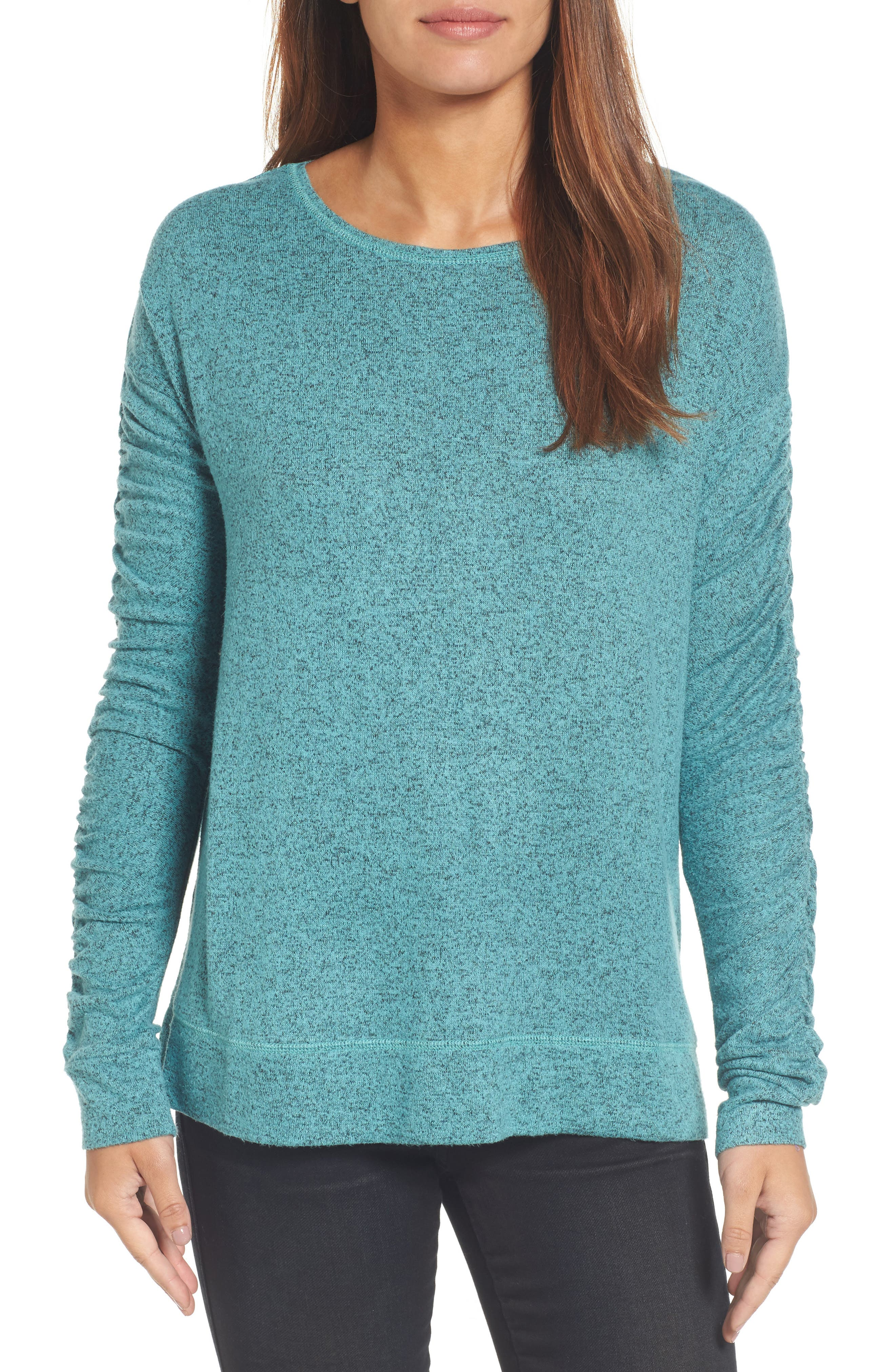 Caslon® Ruched Sleeve Pullover (Regular & Petite)